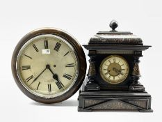Late 19th century American mantel clock, simulated marble sarcophagus top, pilasters and base, eight