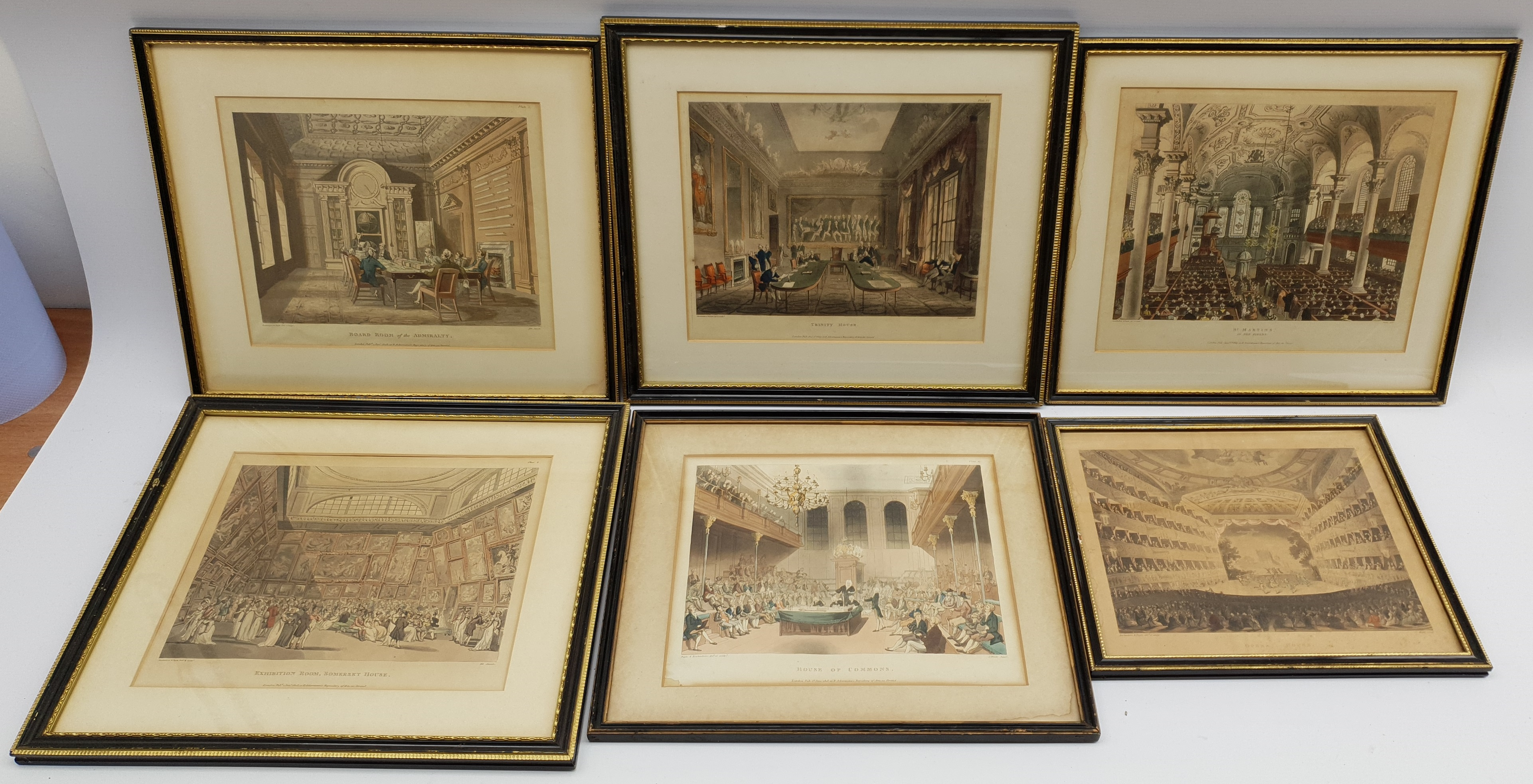 After Thomas Rowlandson (British 1756-1827) and Augustus Charles Pugin (1762-1832): Nine hand-colour