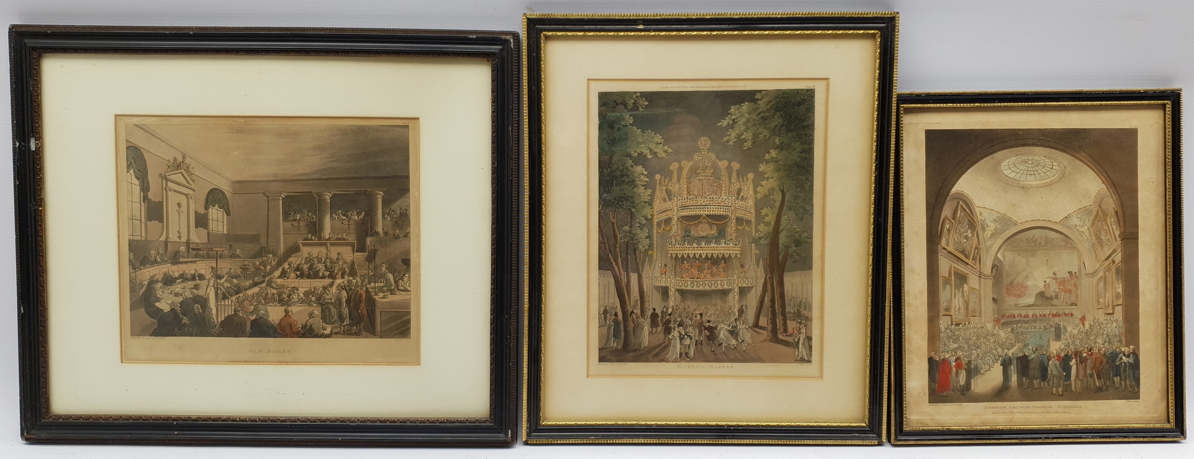 After Thomas Rowlandson (British 1756-1827) and Augustus Charles Pugin (1762-1832): Nine hand-colour - Image 2 of 2