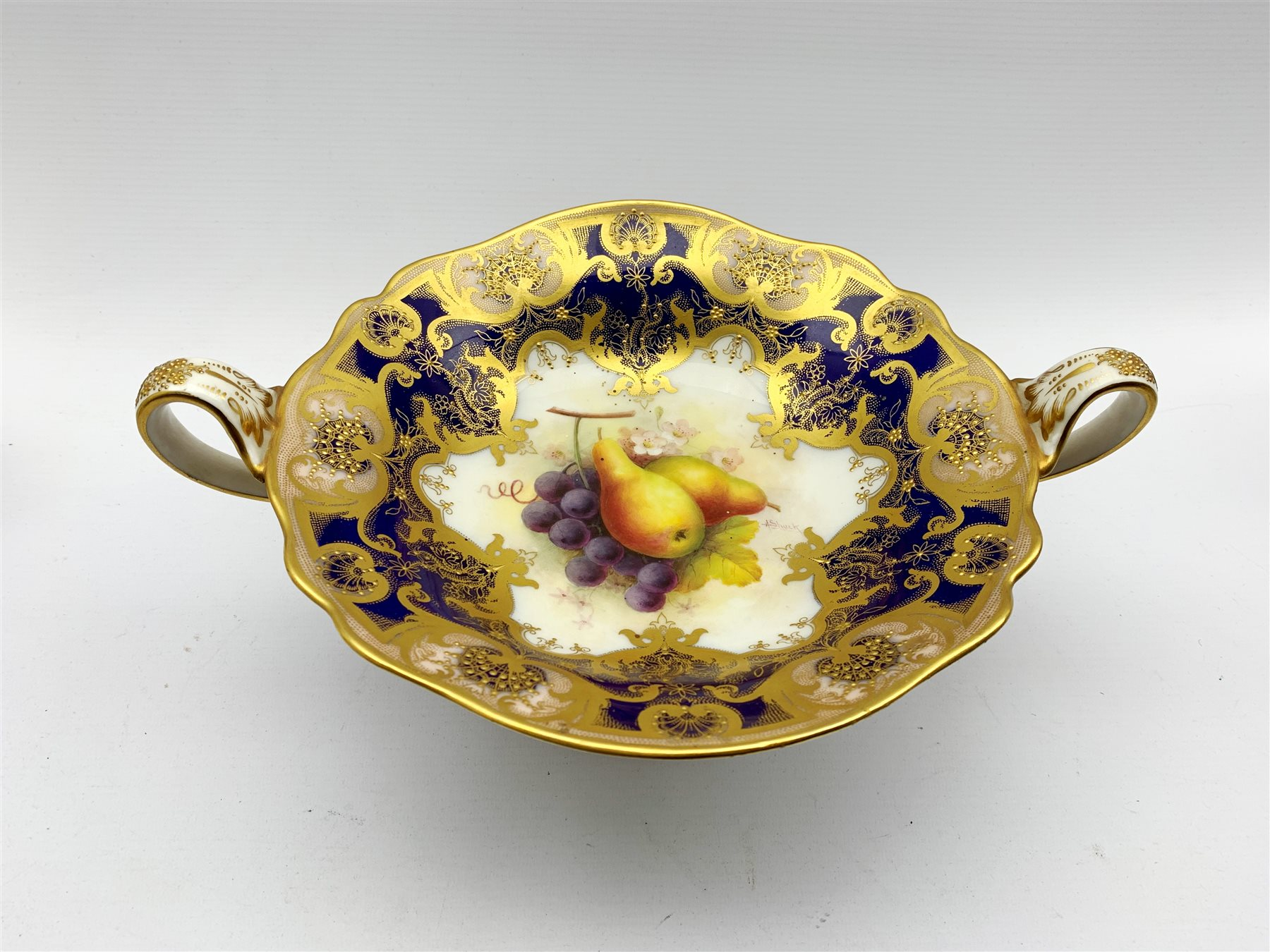 Royal Worcester porcelain twin-handled comport painted by Albert Shuck, signed, with grapes and pear - Image 3 of 7