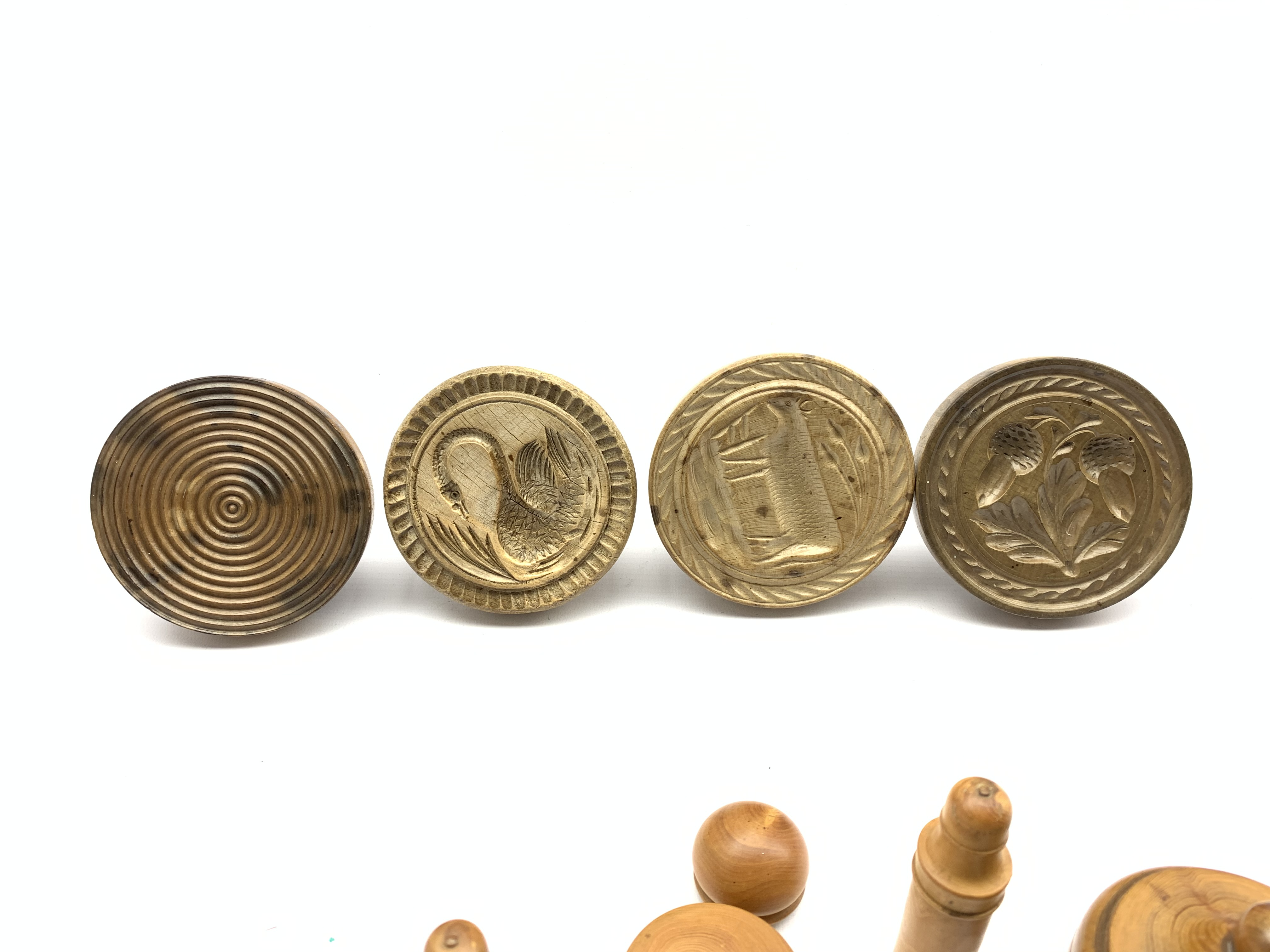Four various 19th century treen butter stamps - Image 3 of 3
