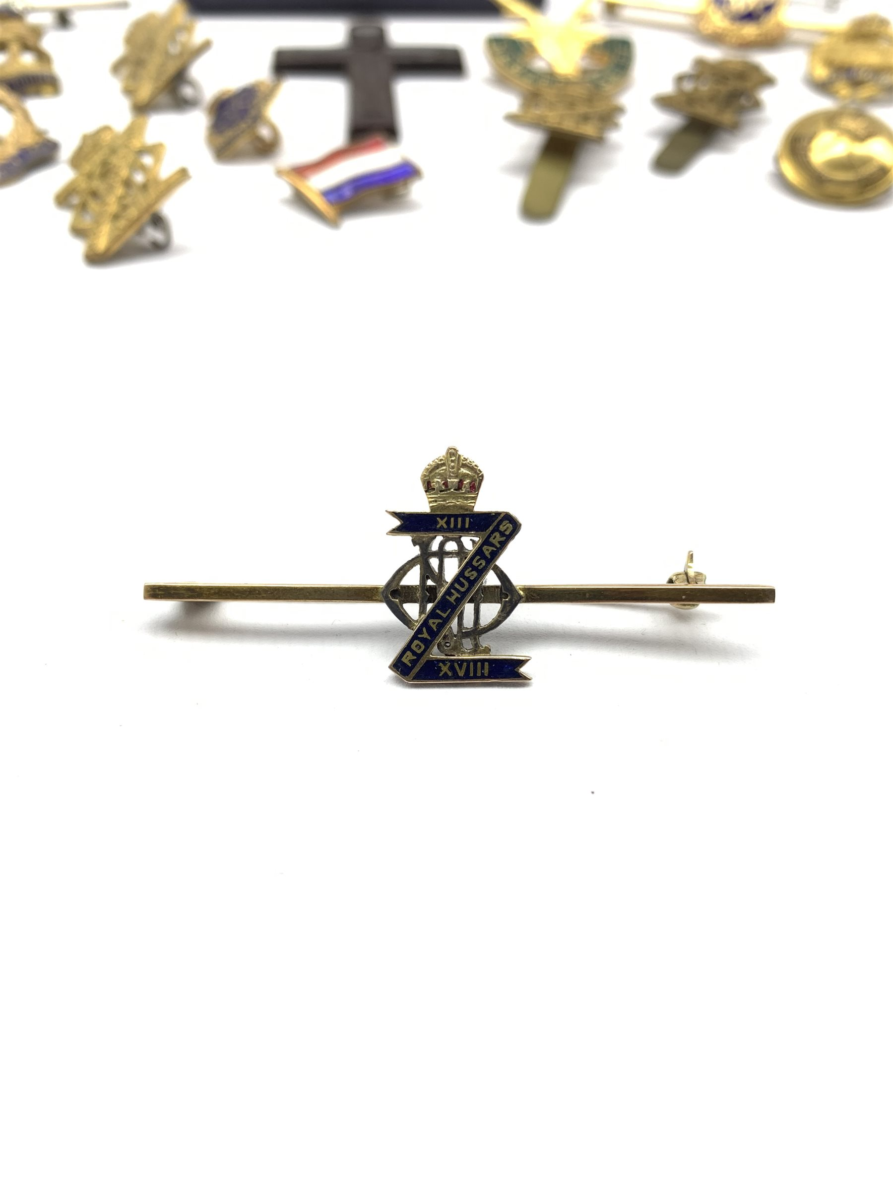 9ct gold and blue enamel brooch for XIII-XVIII Royal Hussars , four other Hussars brooches and clips - Image 2 of 15