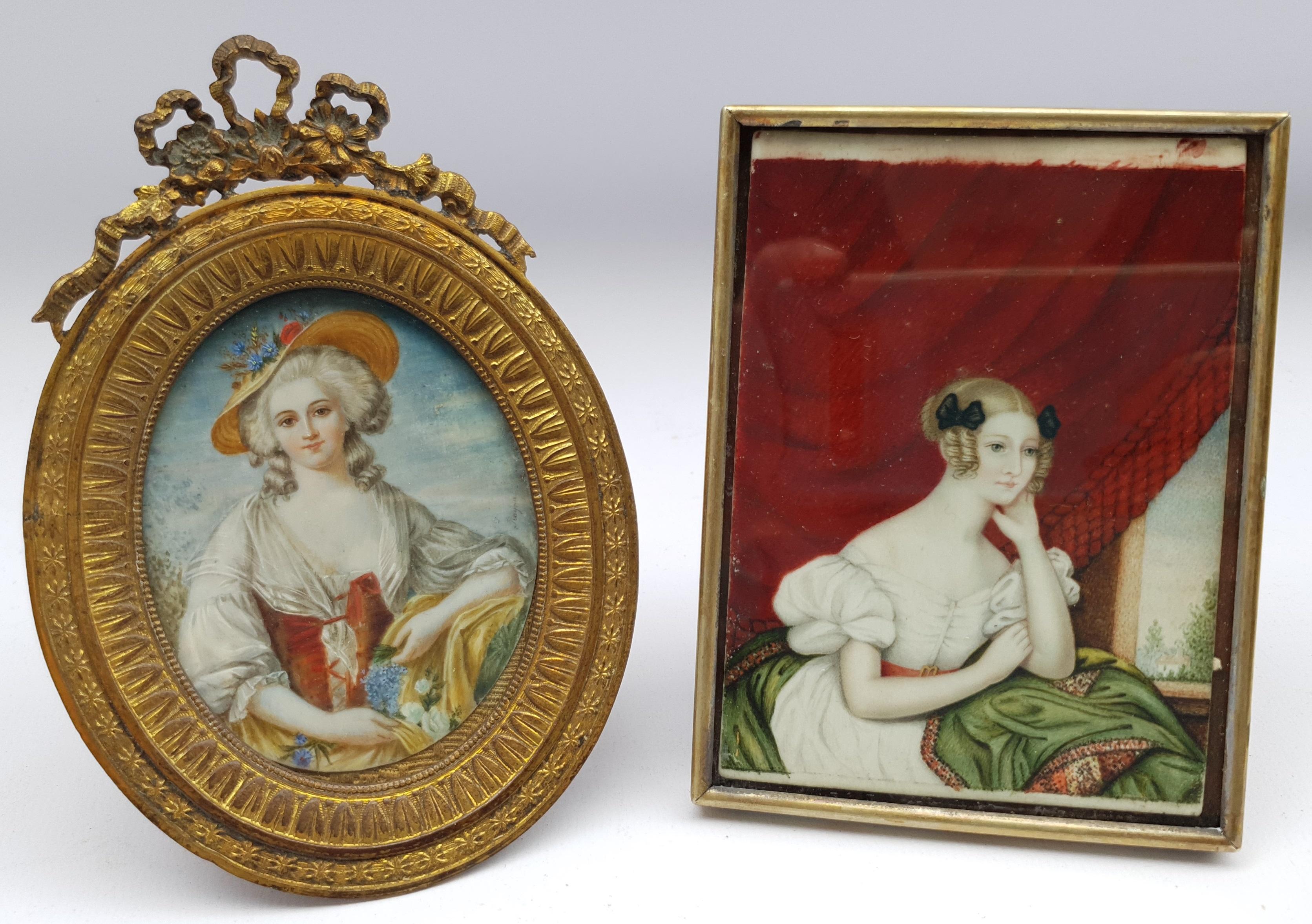 English School (19th century): Fashionable Ladies, two portrait miniatures max 11cm x 8cm (2)