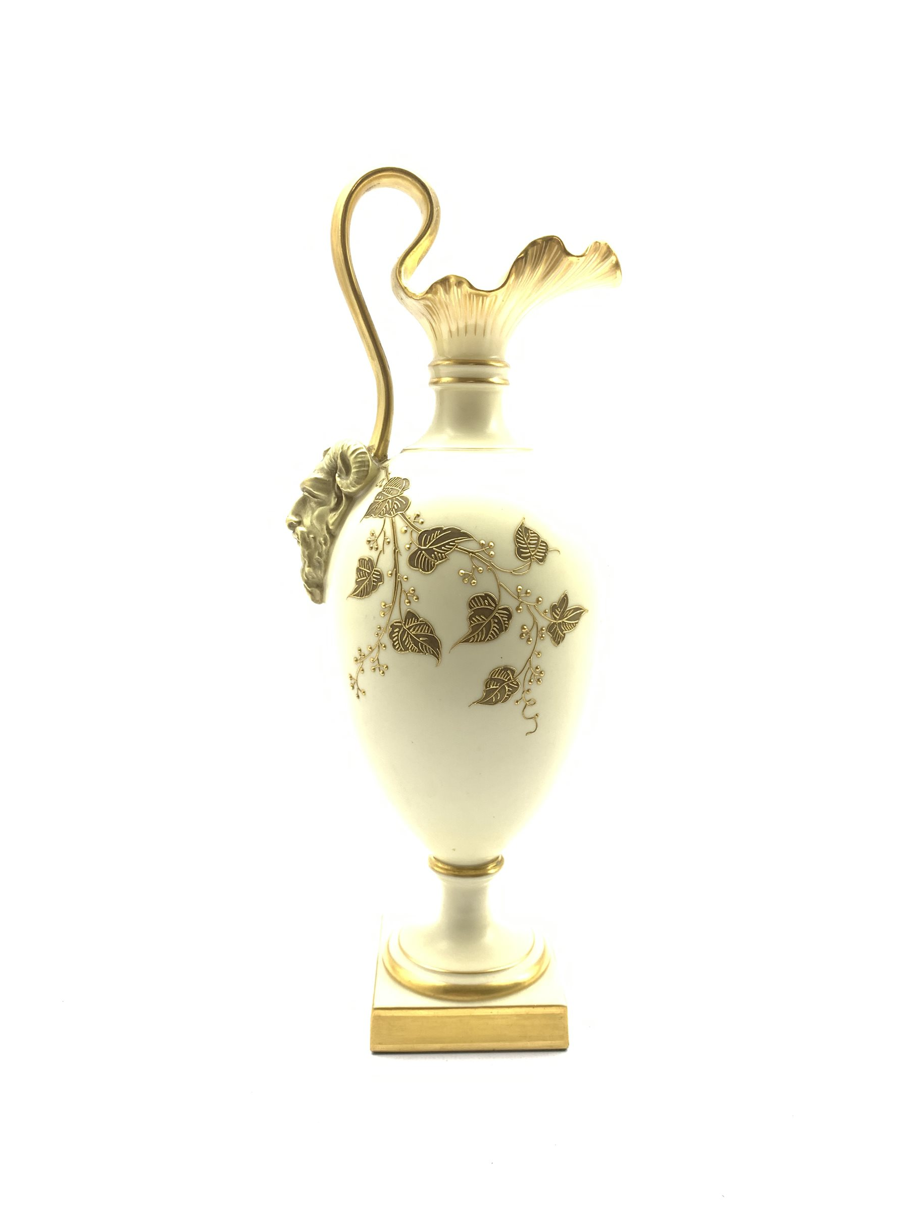 Royal Worcester blush ivory ewer the base of the handle decorated with a satyr mask and decorated wi