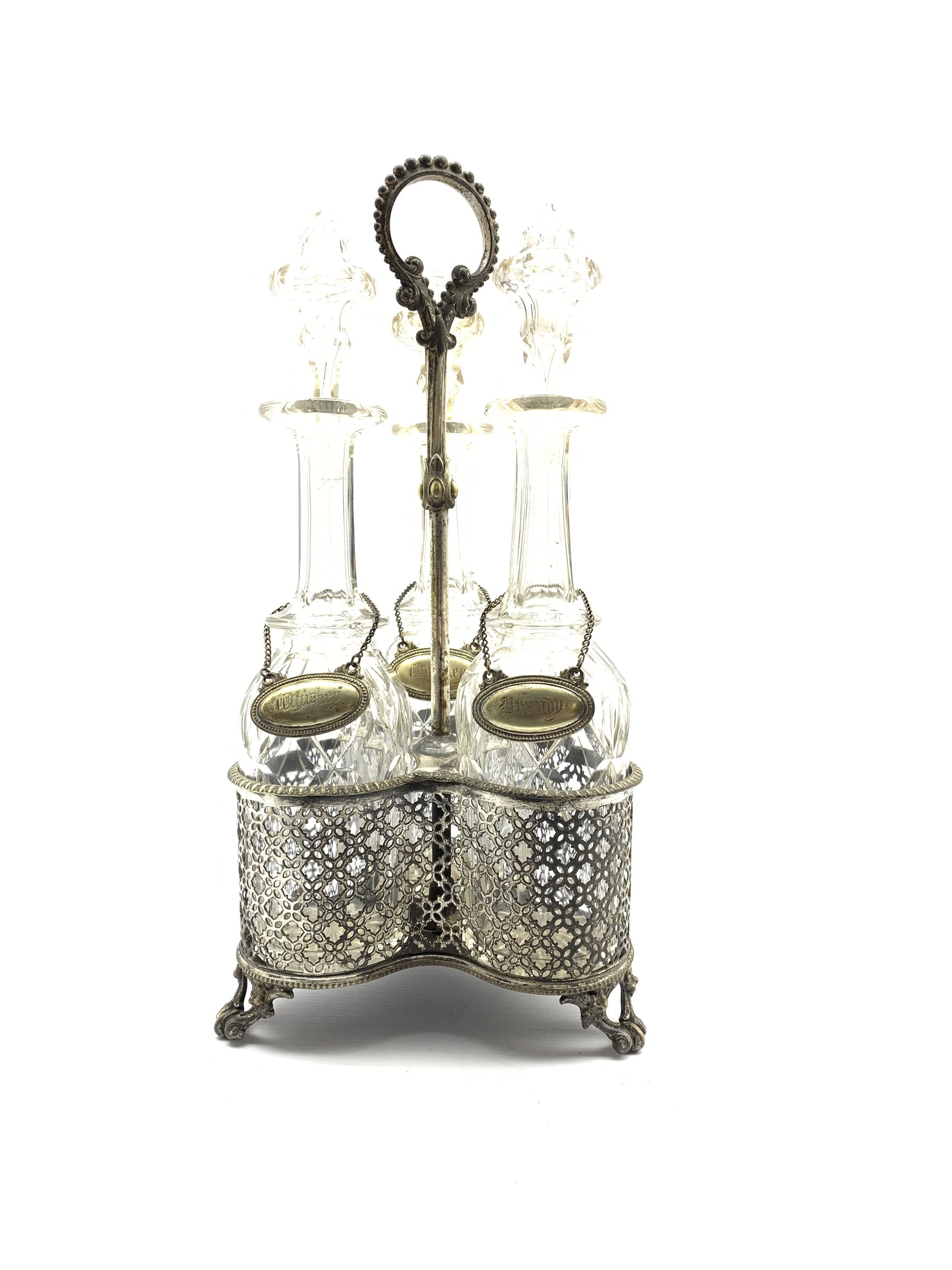 Early 20th century silver-plated three division decanter stand with loop handle, pierced sides and f