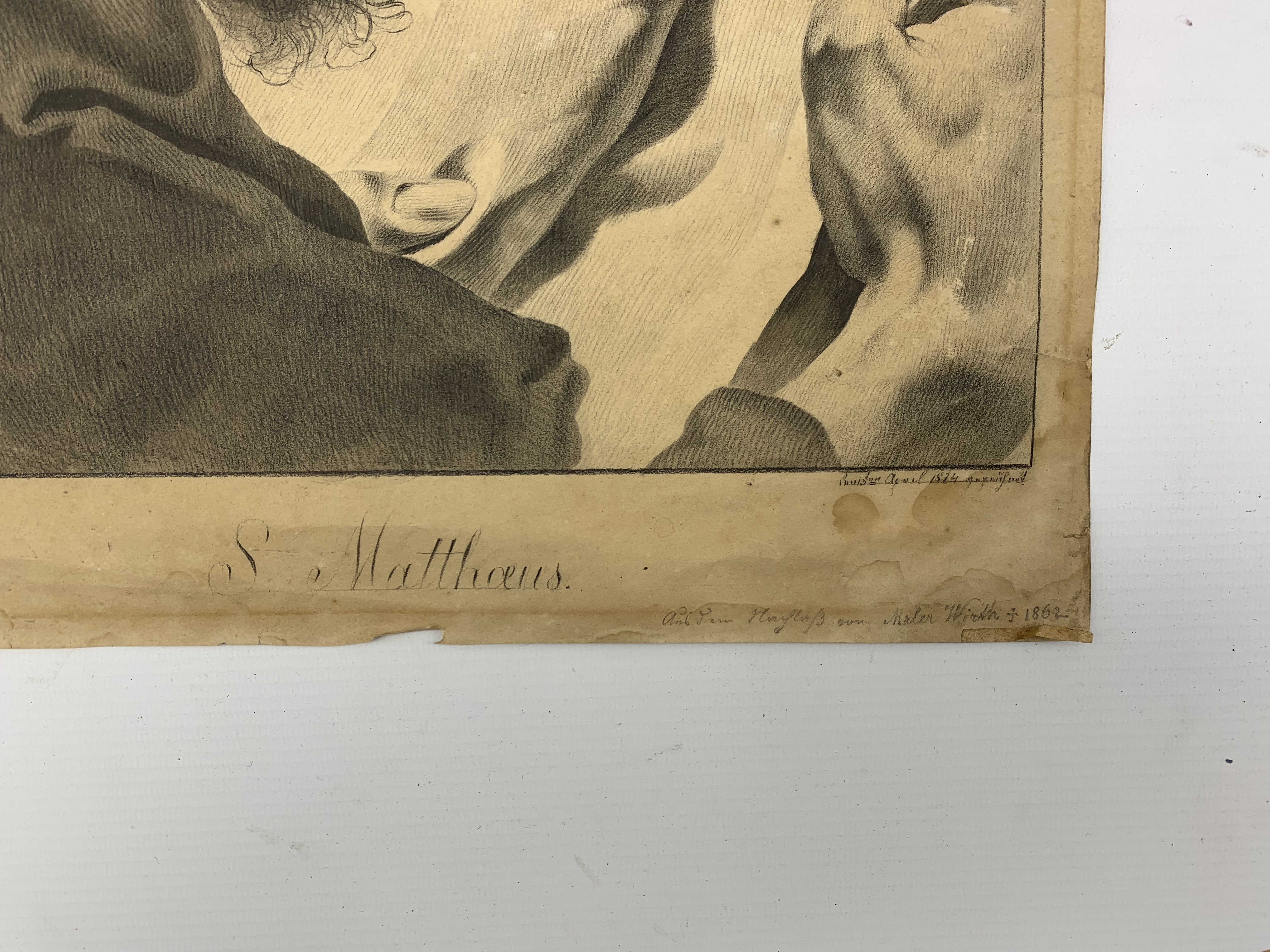 After Giovanni Battista Piazzetta (Italian 1682-1754): 'St Matthew', pencil drawing titled and inscr - Image 2 of 2