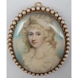 After Richard Cosway (British 1740-1821): 'Miss Maund', miniature portrait in gold frame with split