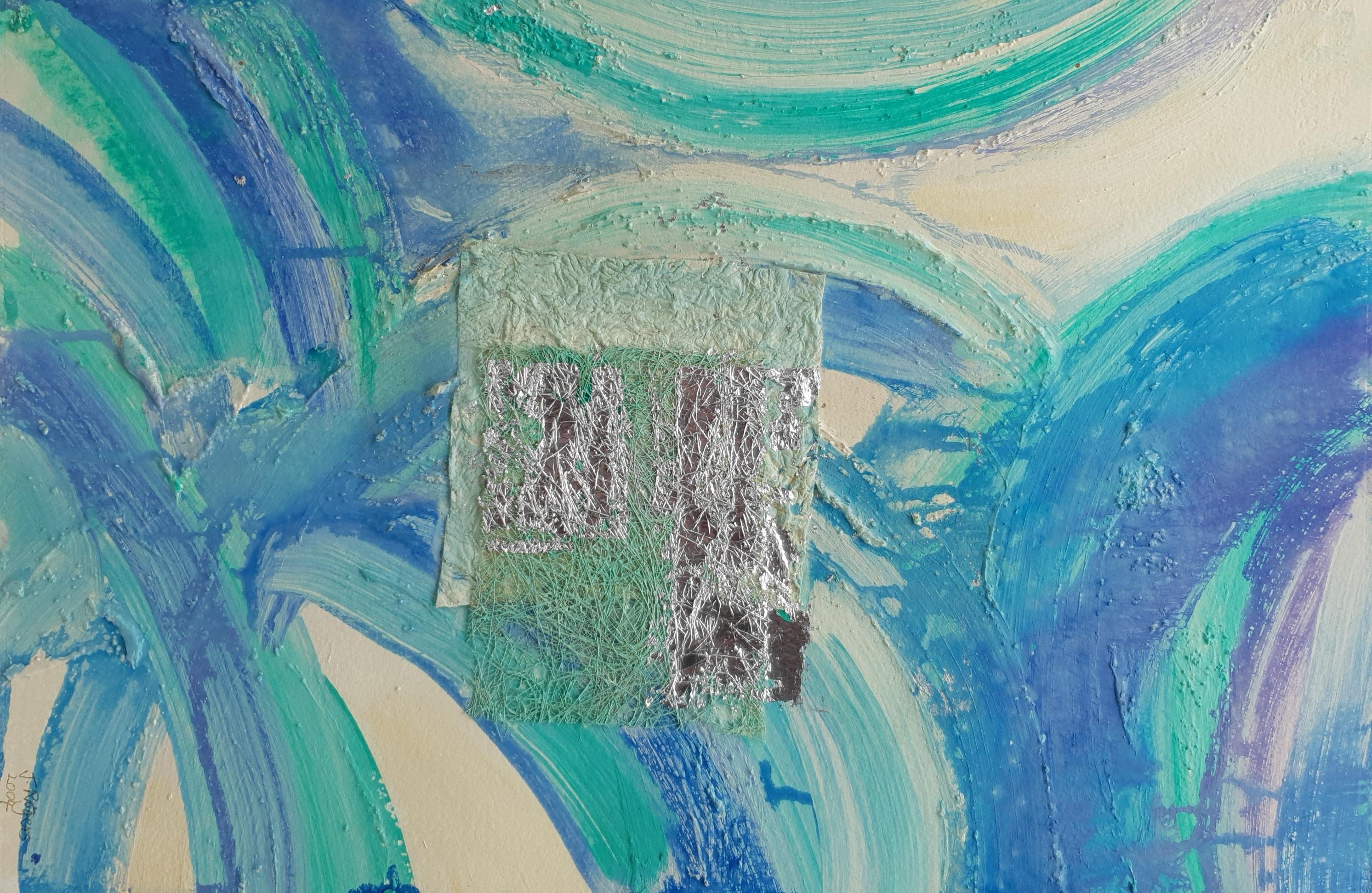 J Rogers (British Contemporary): Abstract, mixed media signed and dated 2004, 40cm x 59cm