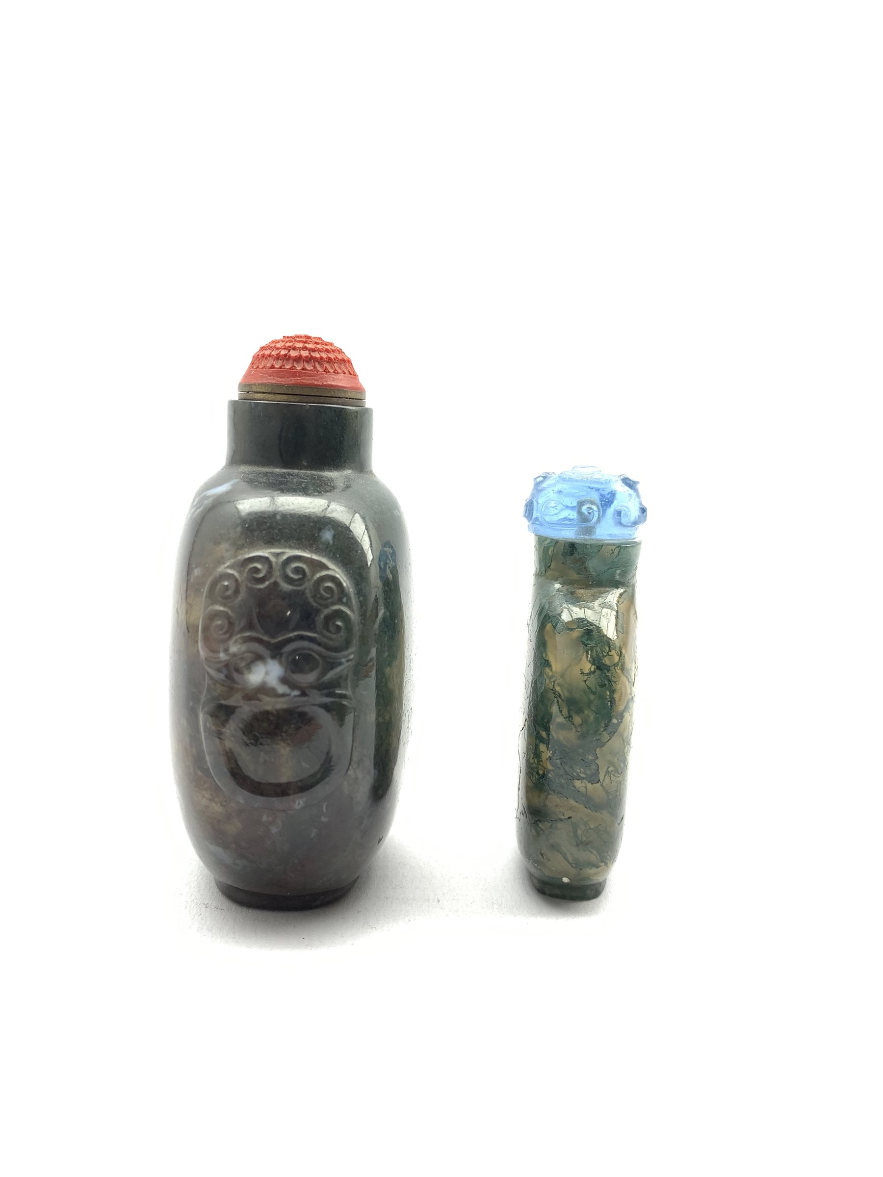 Chinese moss agate style snuff bottle with ring handles and cinnabar stopper, H8cm together with a s - Image 2 of 7