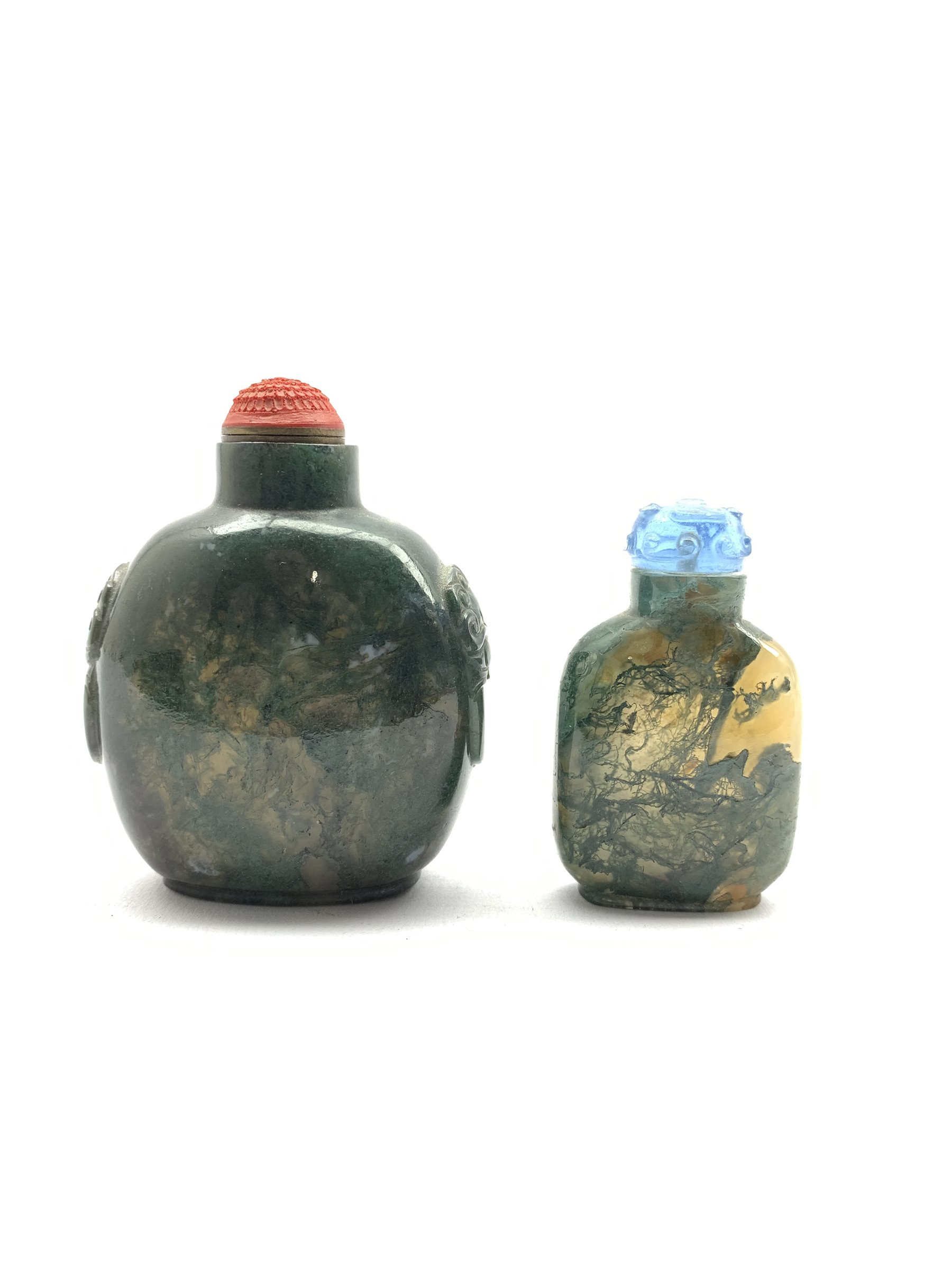 Chinese moss agate style snuff bottle with ring handles and cinnabar stopper, H8cm together with a s - Image 3 of 7
