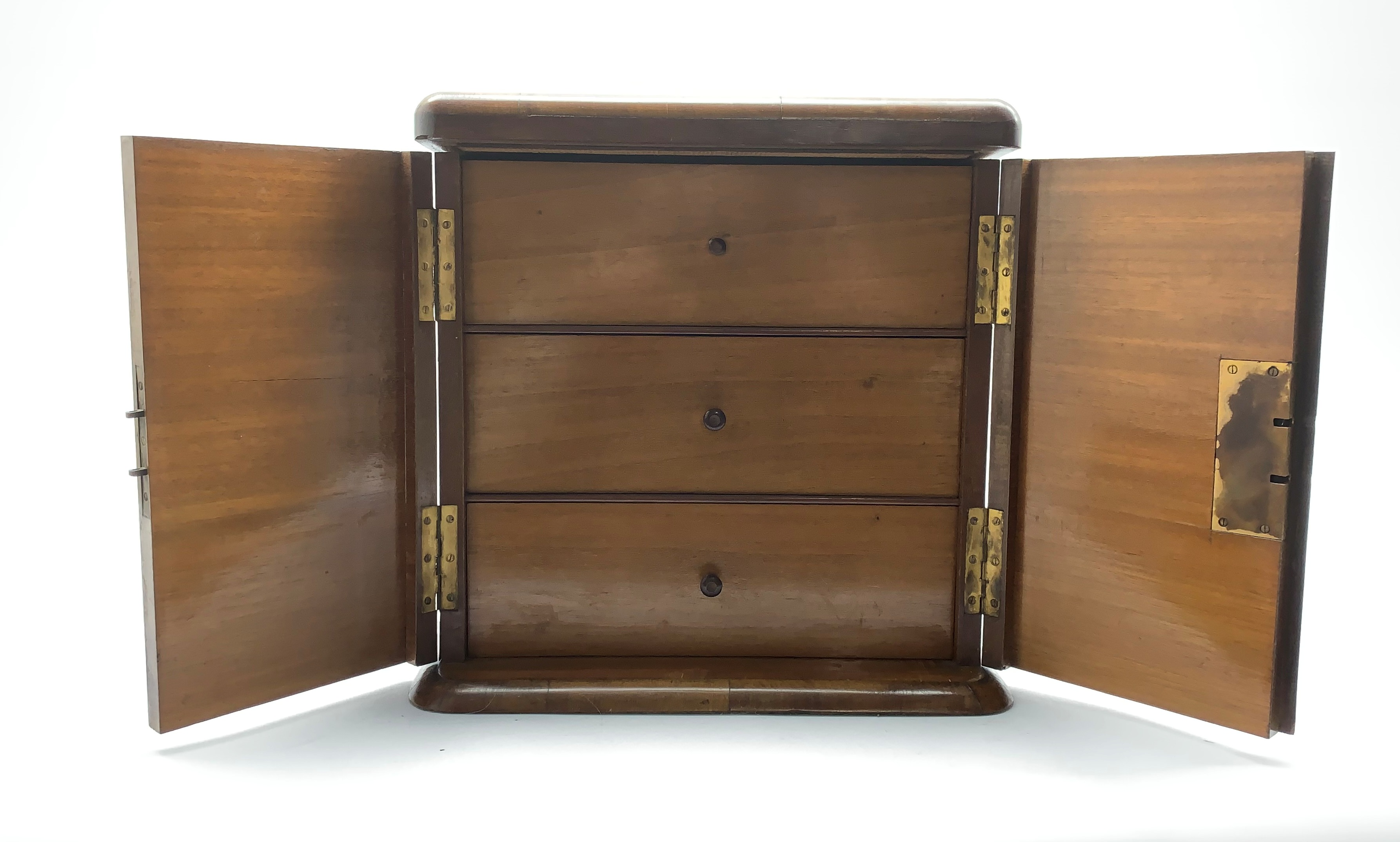 Late Victorian crossbanded rosewood table top cabinet fitted with three small drawers and enclosed - Image 4 of 5