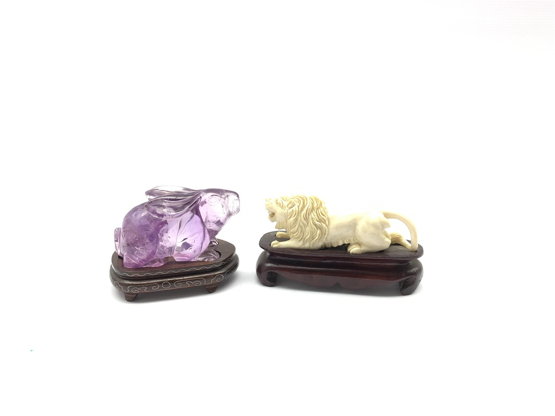 Oriental amethyst glass rabbit on a wooden stand W9cm and an early 20th century carved ivory figure - Image 3 of 11