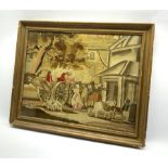 After Morland-Early 19th Century woolwork picture on silk with horse and cart, figures, dog and pony