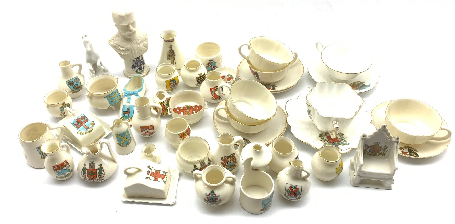Collection of W.H. Goss and other crested ware including: Model of Queen Victoria's baby shoe, the e