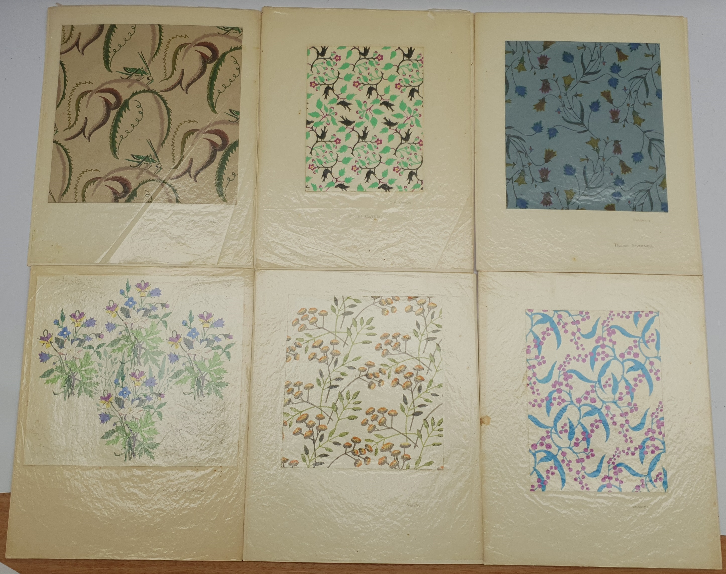 EM Ball (British mid 20th century): Six original fabric/wallpaper designs: 'Grasshoppers', 'Blackbir - Image 2 of 2