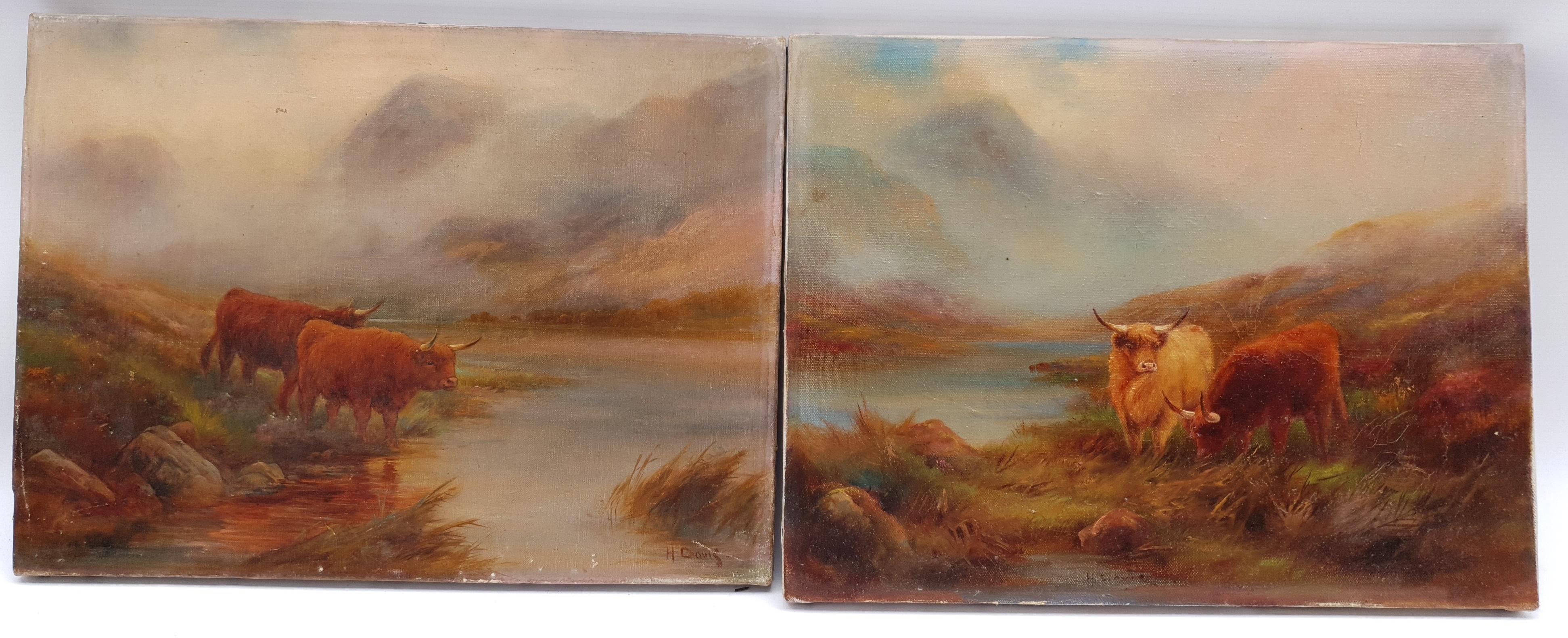 Harry Davis (British 1885-1970): Highland Cattle, pair oils on canvas signed 30cm x 40cm (2) Notes - Image 2 of 4