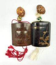 Japanese Meiji nashiji lacquer three case inro decorated in low relief with a pagoda and foliage wit