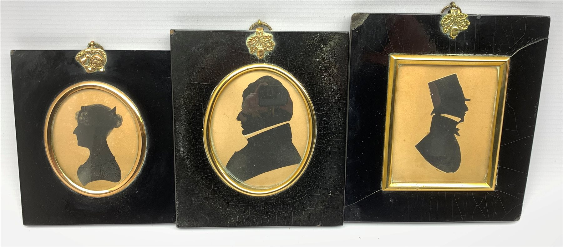 19th Century silhouette profile portrait of a gentleman wearing a top hat 9cm x 7cm another inscribe