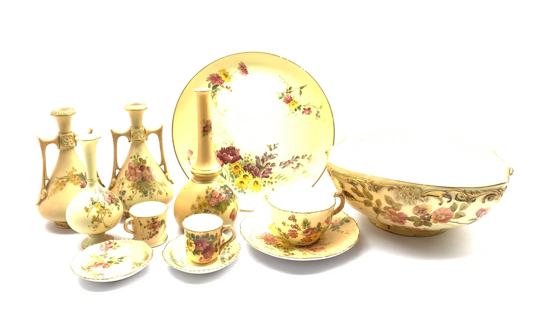 Collection of Royal Worcester blush ivory to include a miniature tankard, teacup and saucer, miniatu