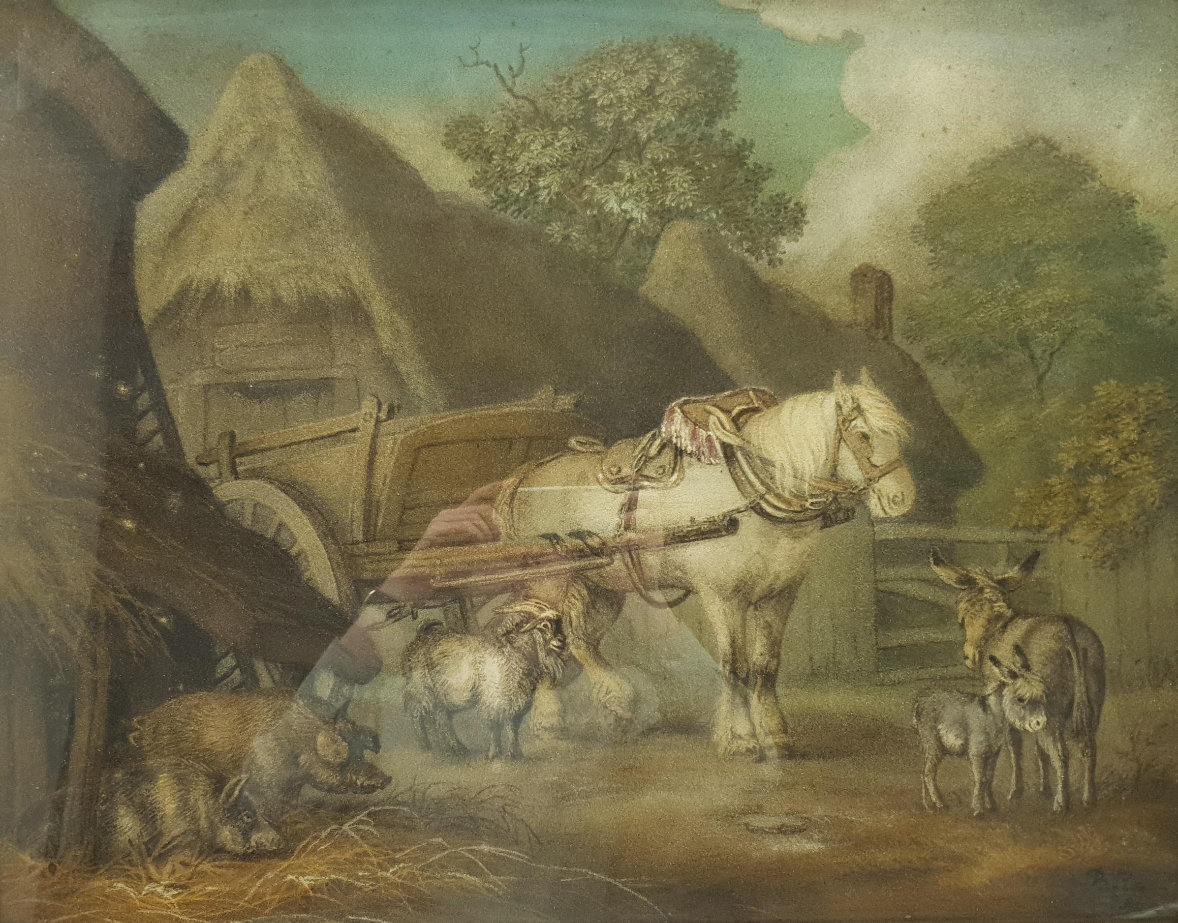 Benjamin Zobel (German/British 1762-1830): Animals in the Farmyard, 'Marmotinto' sand picture signed