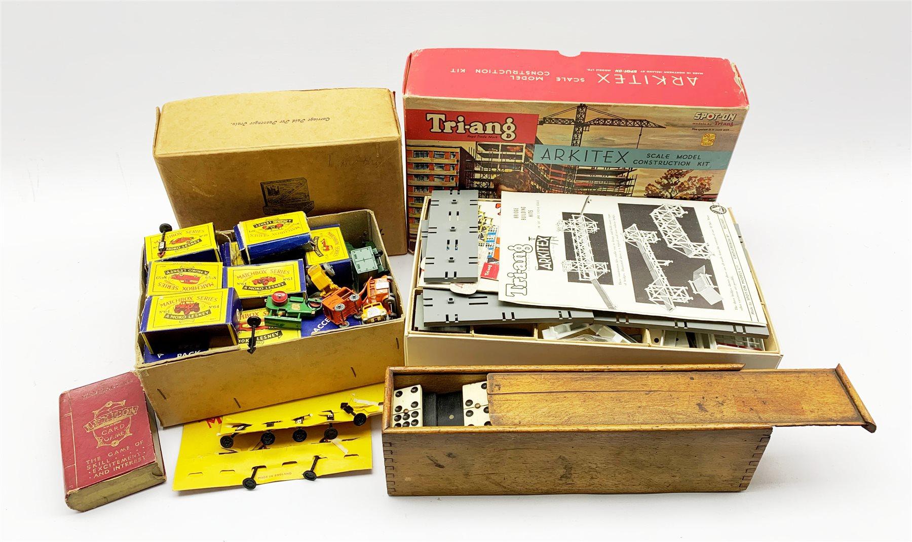 Triang Arkitex construction kit, Matchbox model vehicles, box of dominoes etc