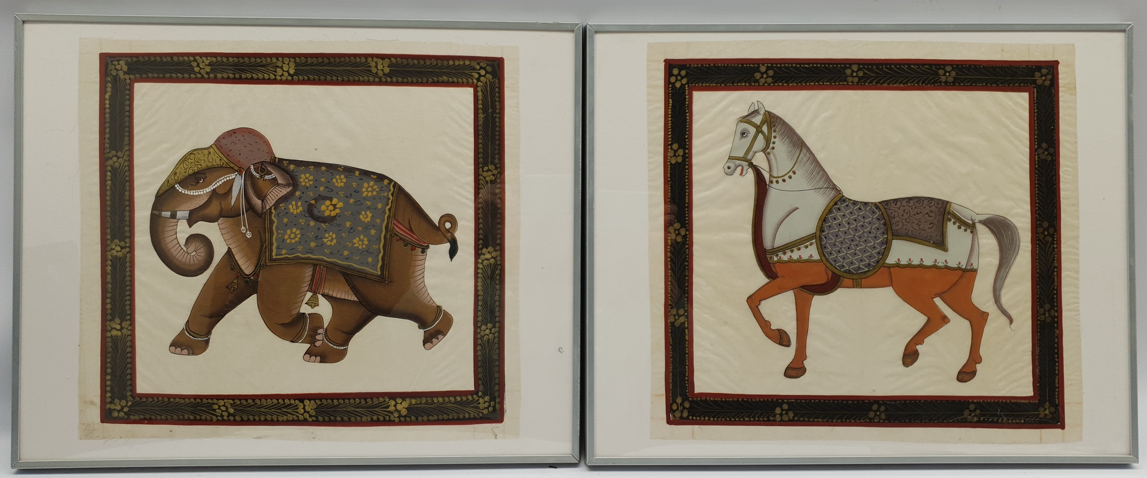 Mughal School (20th century): Horse and Elephant, pair paintings on fabric unsigned 36cm x 39cm (2) - Image 2 of 2