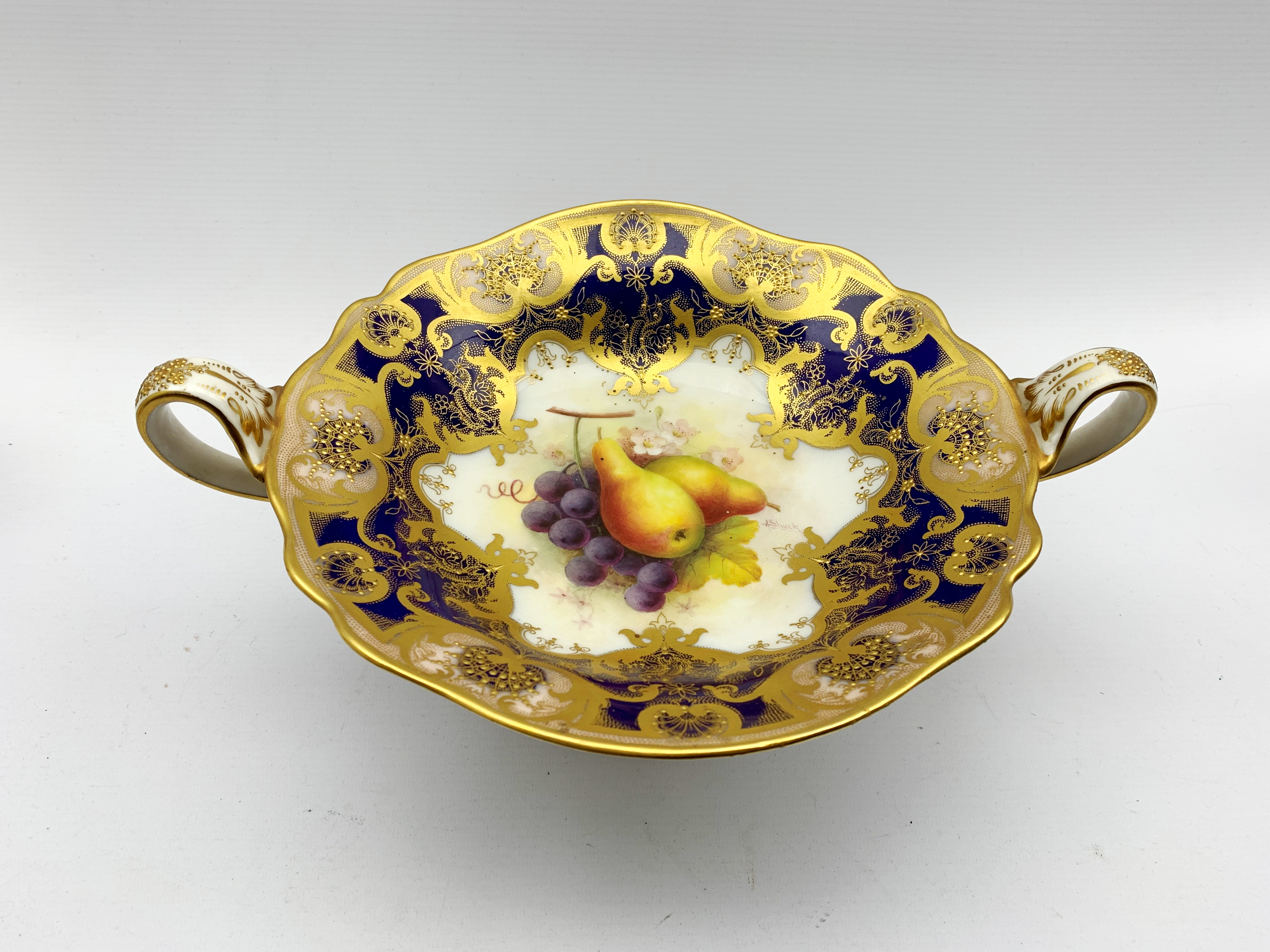 Royal Worcester porcelain twin-handled comport painted by Albert Shuck, signed, with grapes and pear - Image 6 of 7