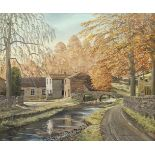 James E Kayley (British 20th century): Village Scene, oil on canvas signed and dated '73, inscribed