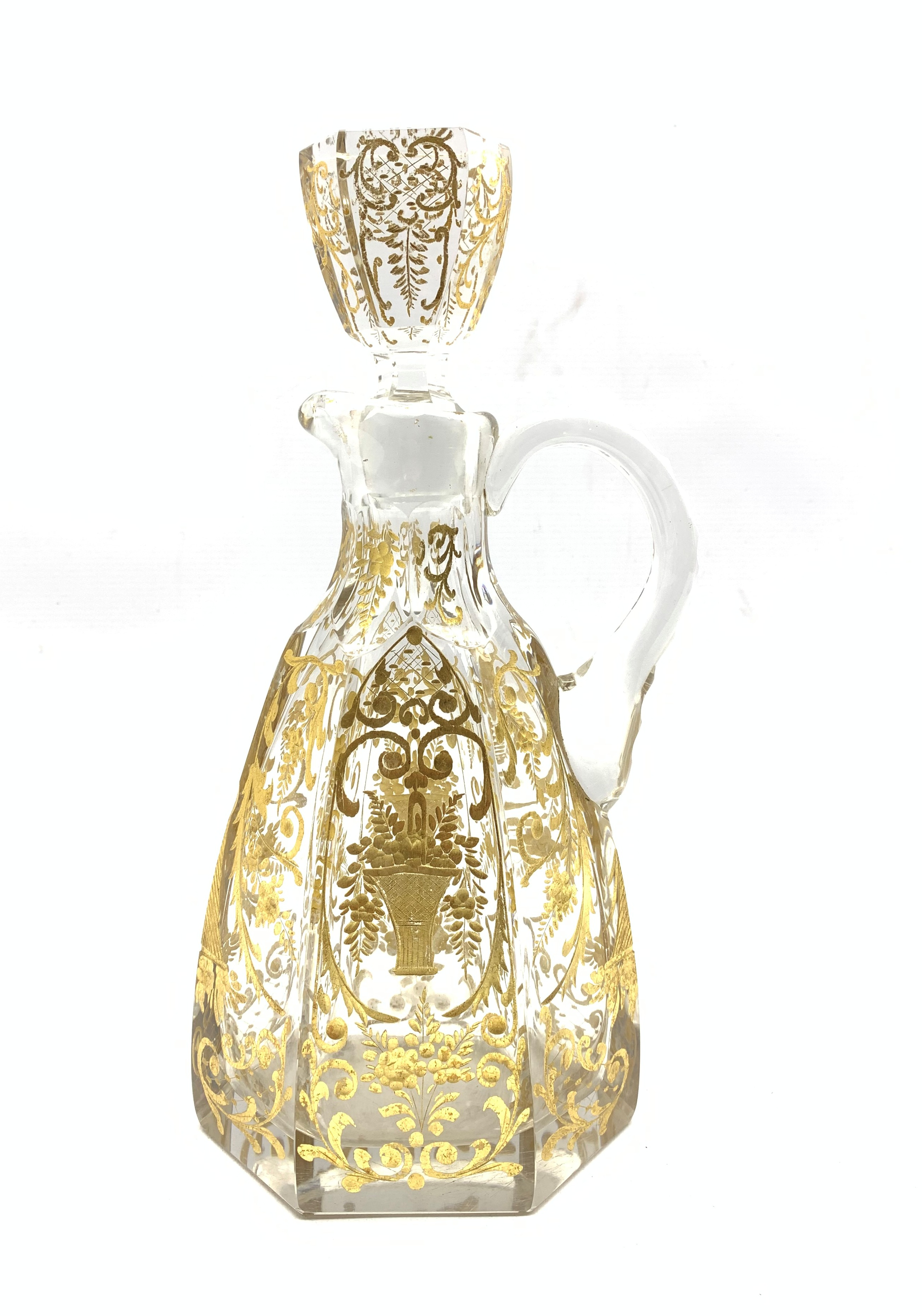 Early 20th century French glass claret jug of hexagonal design incised and gilded with trailing foli - Image 5 of 7