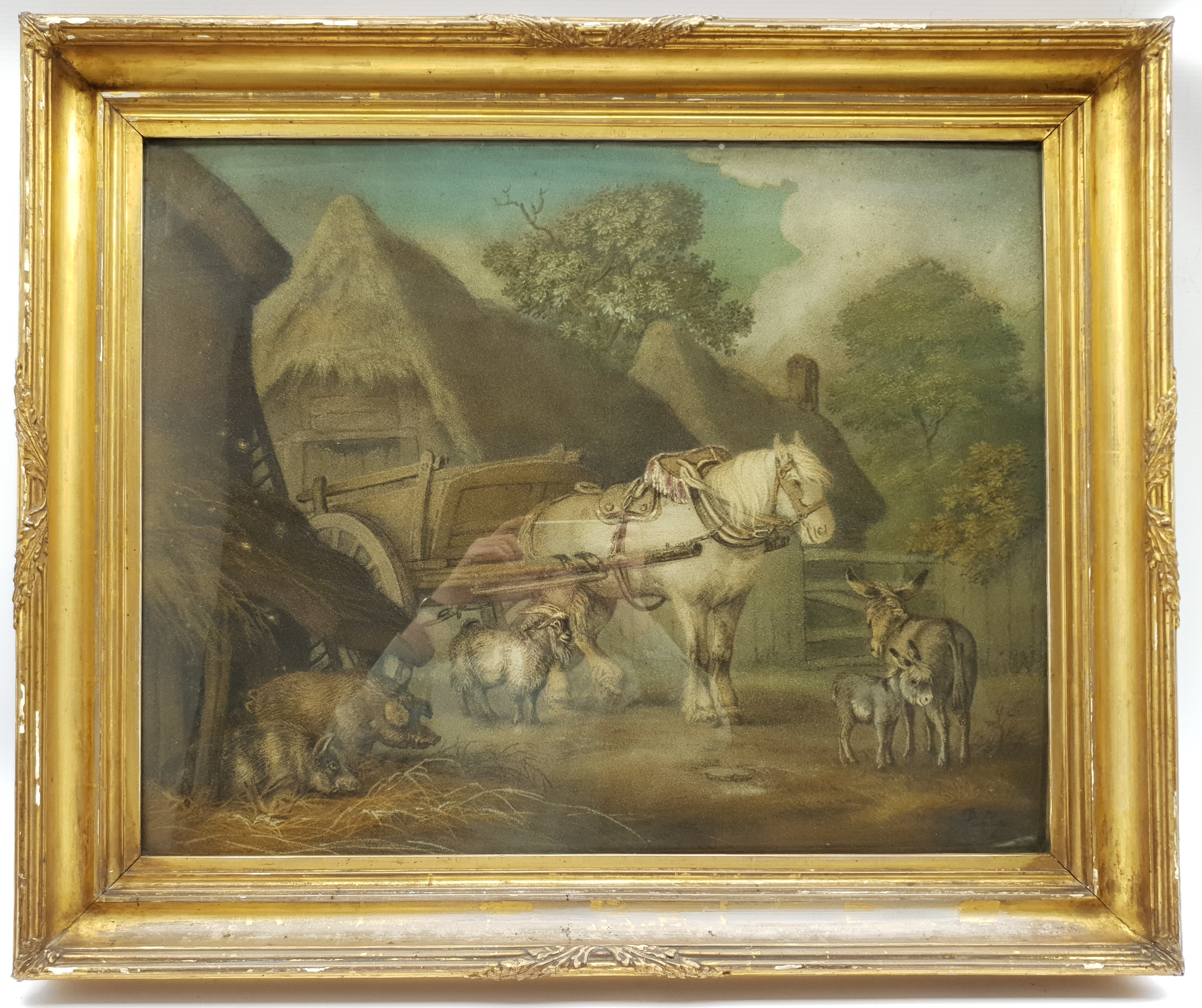 Benjamin Zobel (German/British 1762-1830): Animals in the Farmyard, 'Marmotinto' sand picture signed - Image 2 of 3