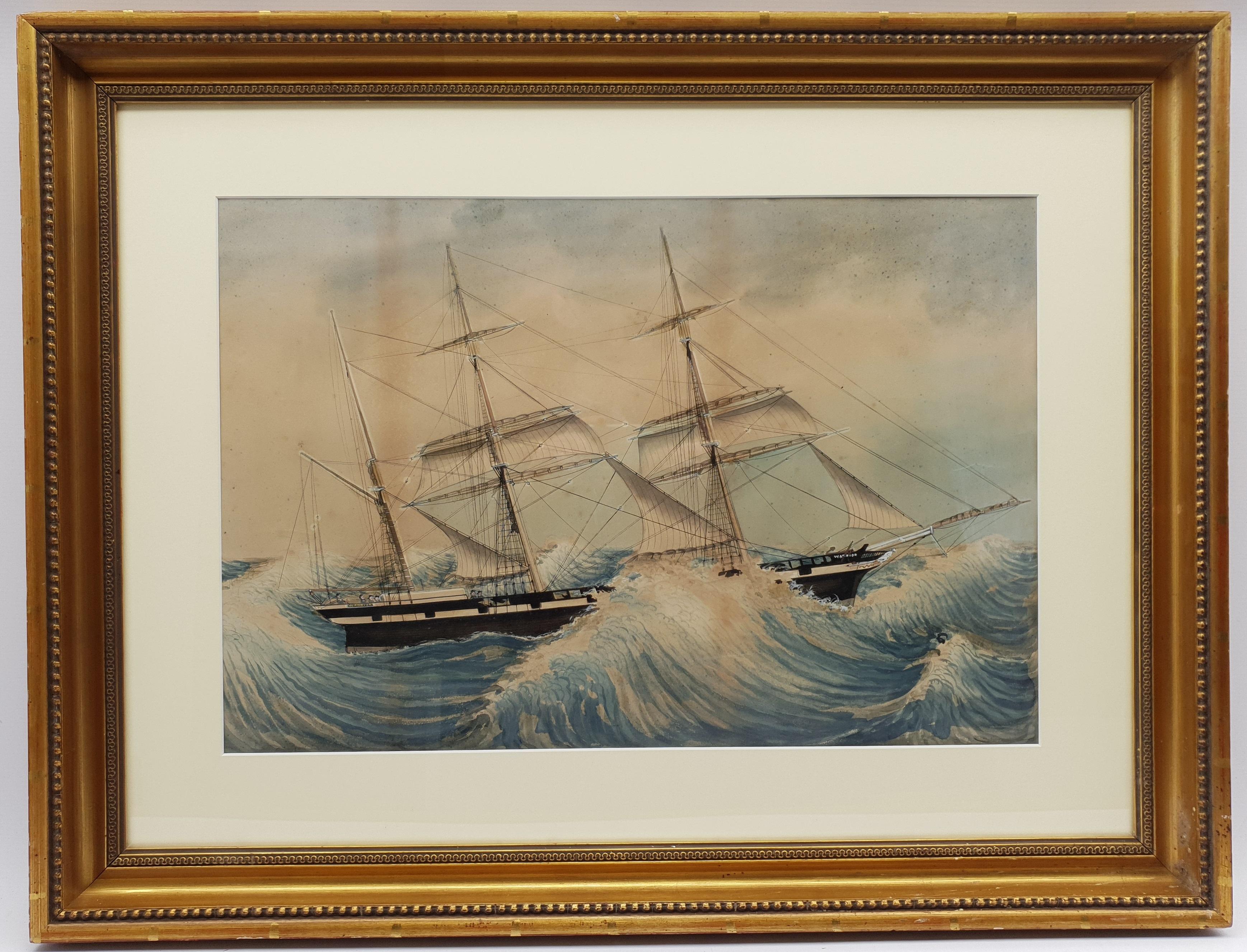 English School (19th century): HMS Warrior in Rough Seas - Ship's Portrait, watercolour unsigned 58c - Image 2 of 2