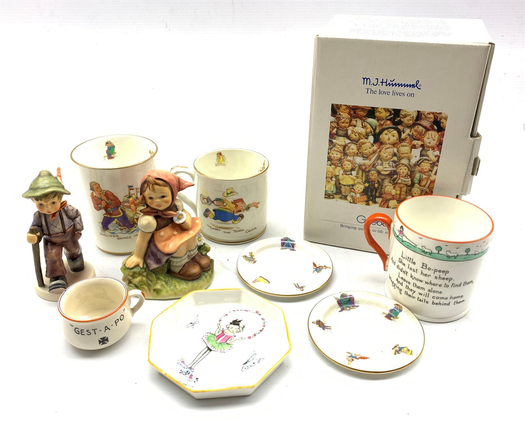Hammersley & Co. Gulliver's Travels beaker & mug, a pair of Hammersley circular dishes, Shelley 'Lit