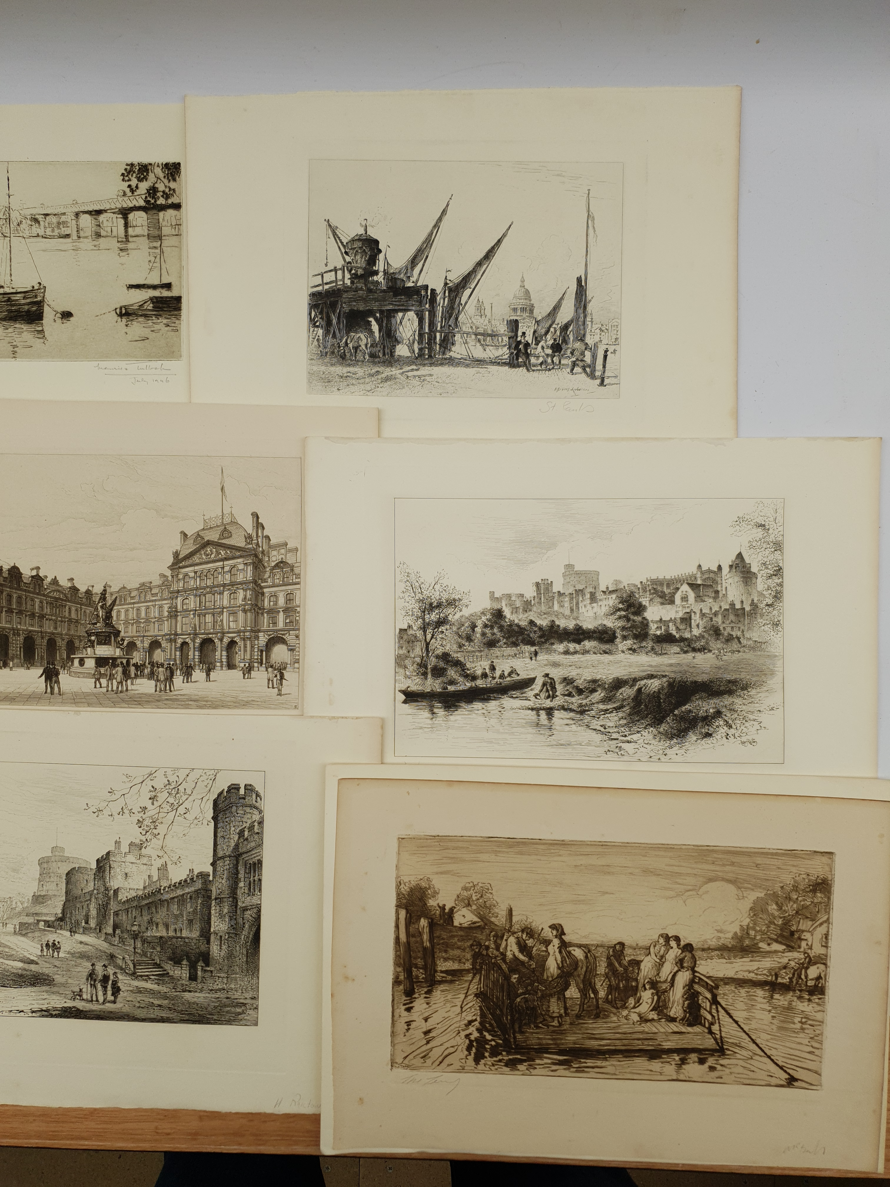 Collection of 19th/early 20th century etchings and engravings including 'Edinburgh Castlegate', 'St - Image 5 of 5