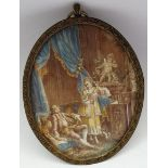 Continental School (19th century): Couple and Dog in an Interior, portrait miniature signed Beudoin?