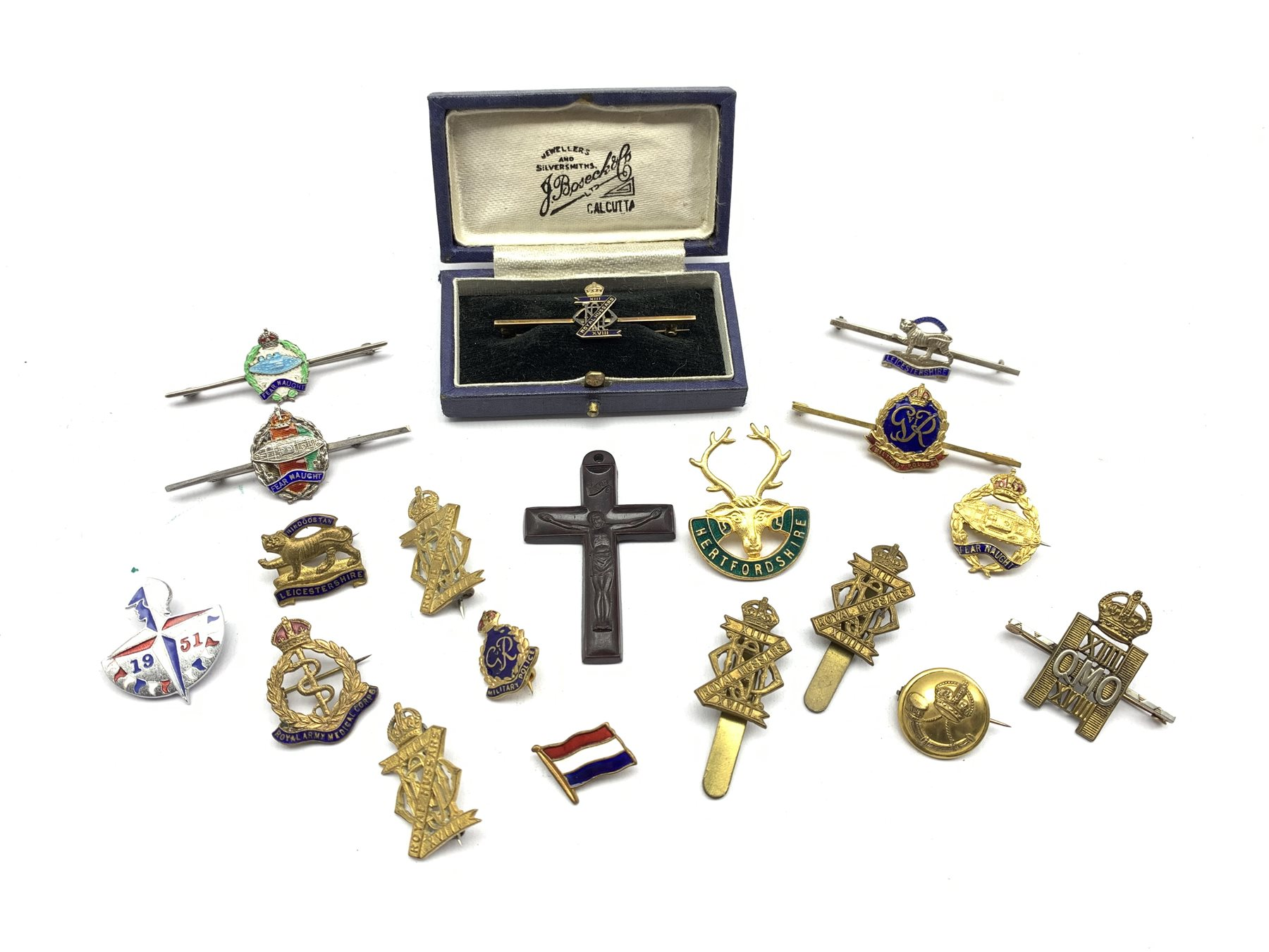9ct gold and blue enamel brooch for XIII-XVIII Royal Hussars , four other Hussars brooches and clips