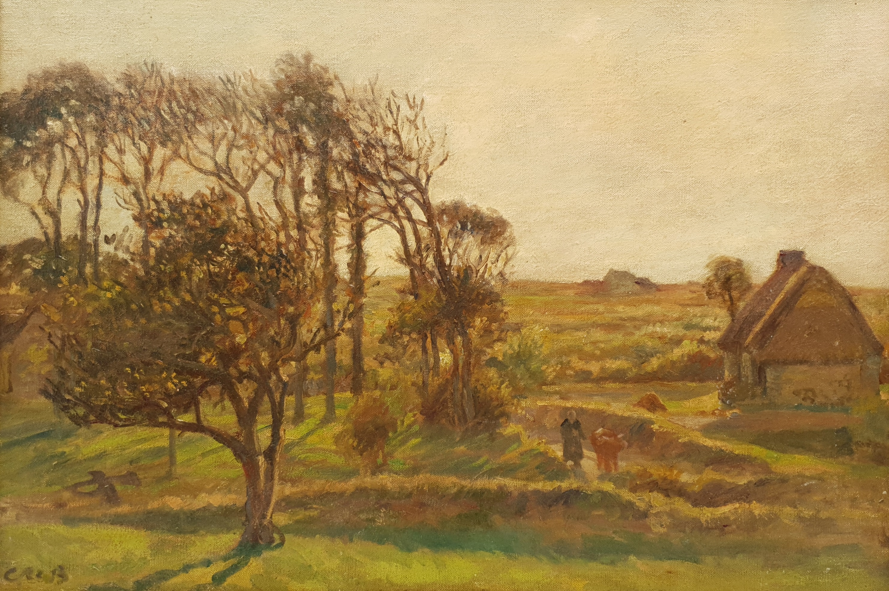 Continental School (Early 20th century): Figures by a Farmstead, oil on canvas indistinctly signed 5