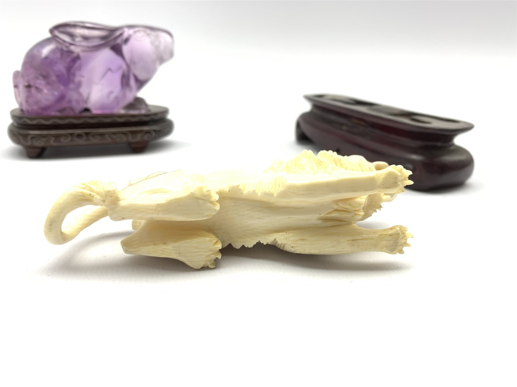 Oriental amethyst glass rabbit on a wooden stand W9cm and an early 20th century carved ivory figure - Image 5 of 11