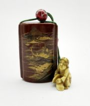Japanese Meiji nashiji lacquer five case inro decorated in low relief with a mountainous landscape,