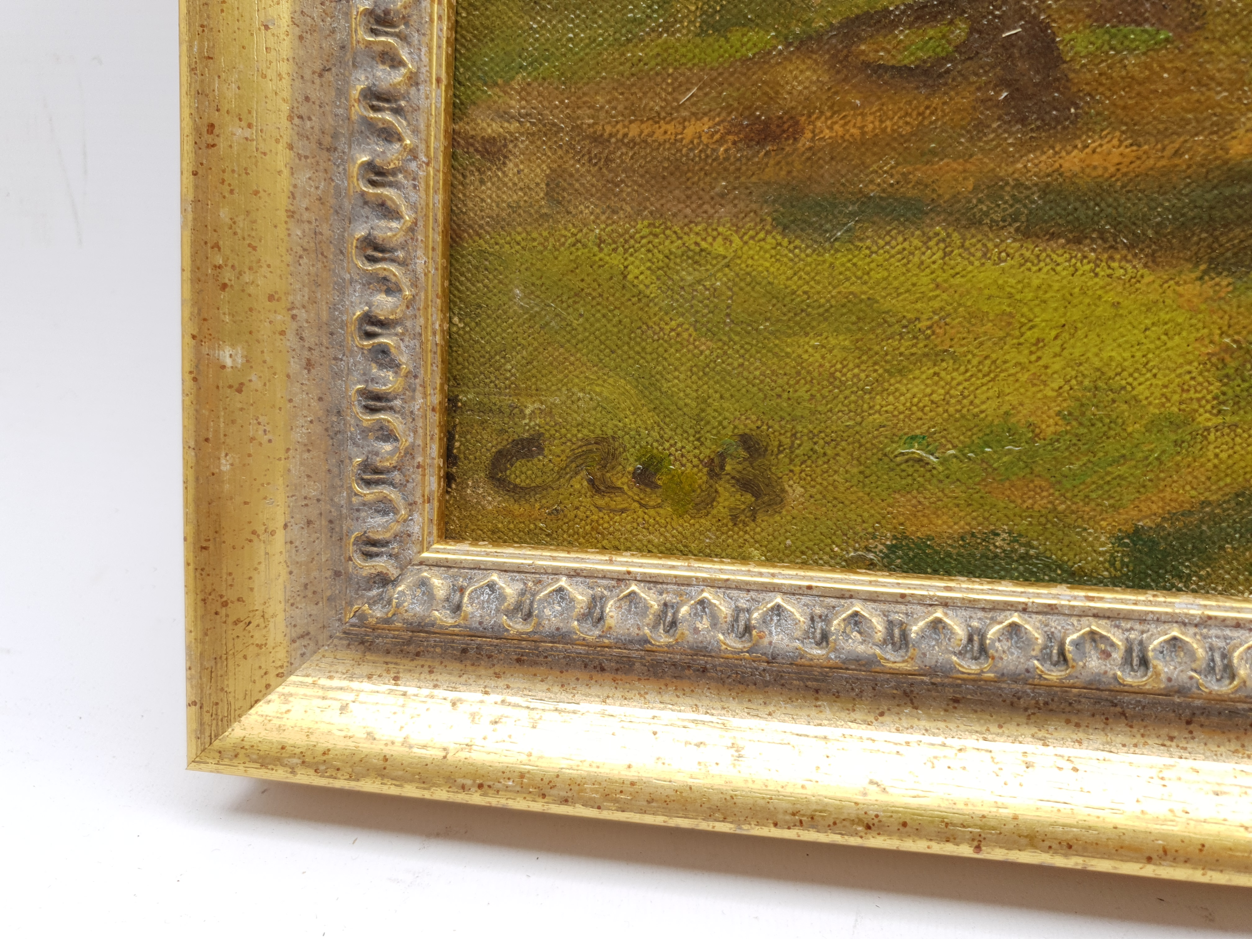 Continental School (Early 20th century): Figures by a Farmstead, oil on canvas indistinctly signed 5 - Image 3 of 4