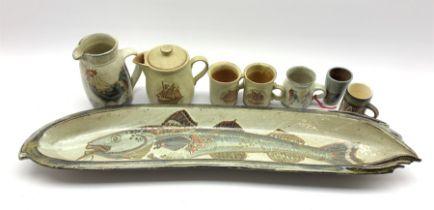 Colin Kellam (b1942) Large studio pottery 'Fish' dish of elongated oval form L83cm, jug decorated wi