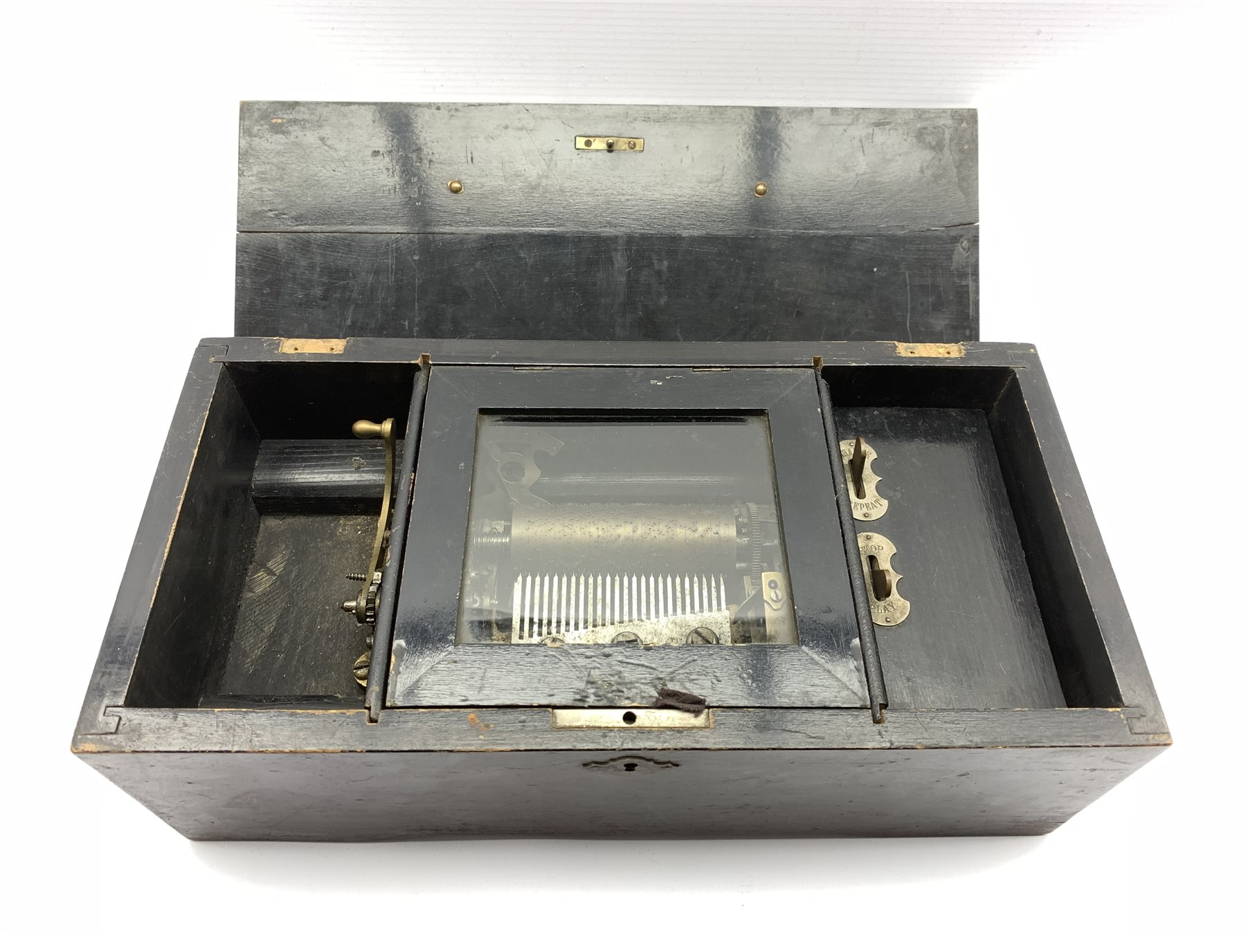 Late 19th Century Swiss eight air musical box with comb and cylinder movement, cylinder 10cm long in - Image 2 of 7