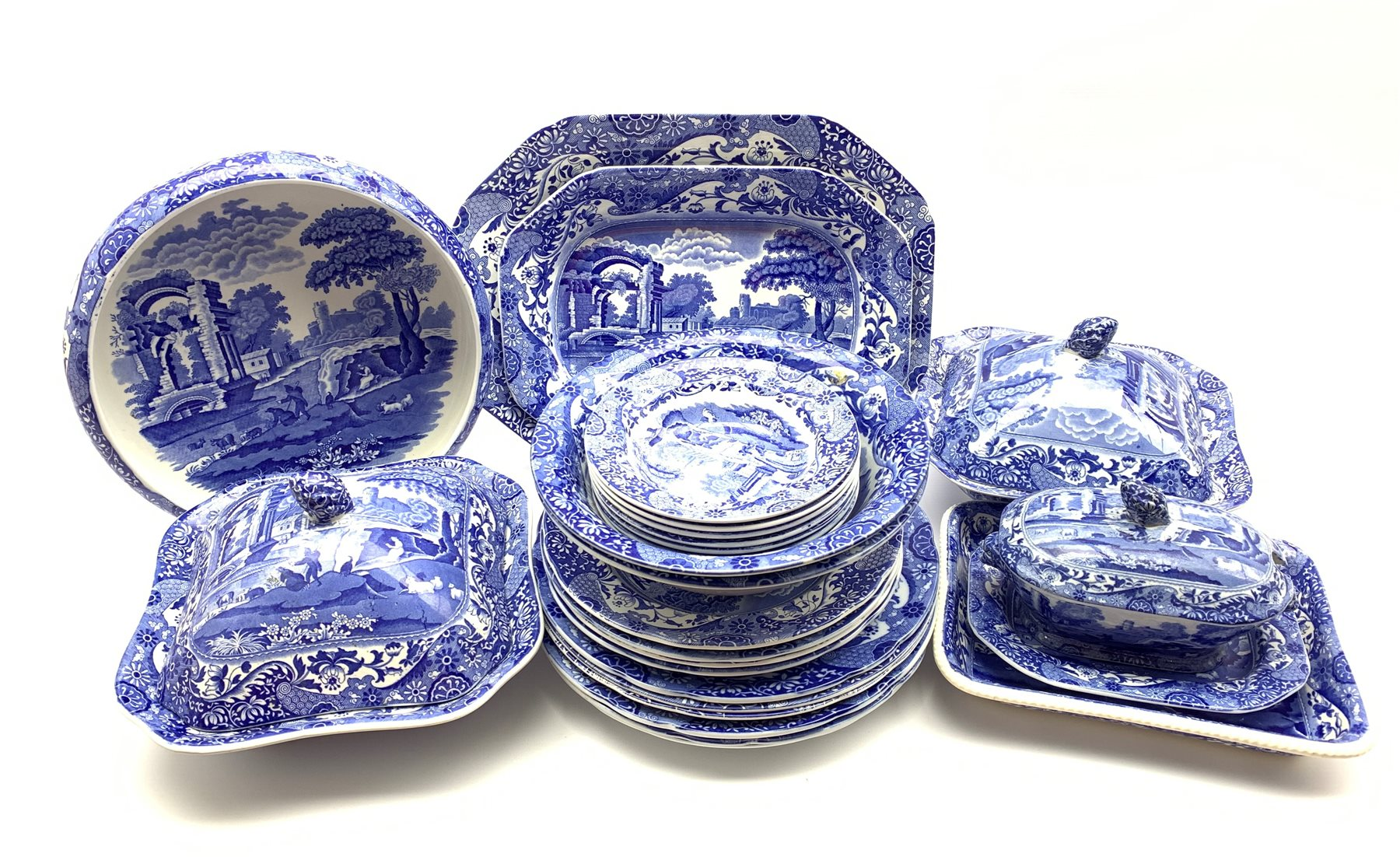 Copeland Spode's Italian pattern blue and white dinner service comprising six dinner plates, four de