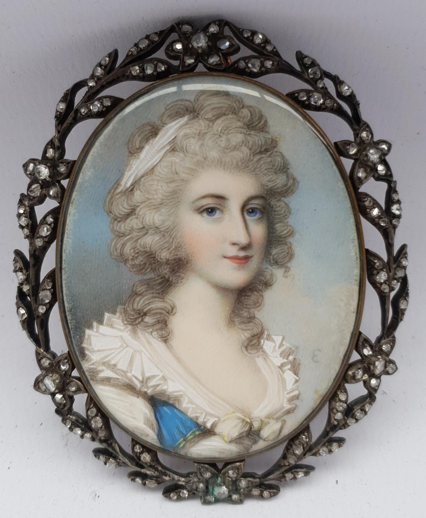 Attrib. George Engleheart (British 1750-1829): Lady in a Powdered Wig and White Dress, portrait mini