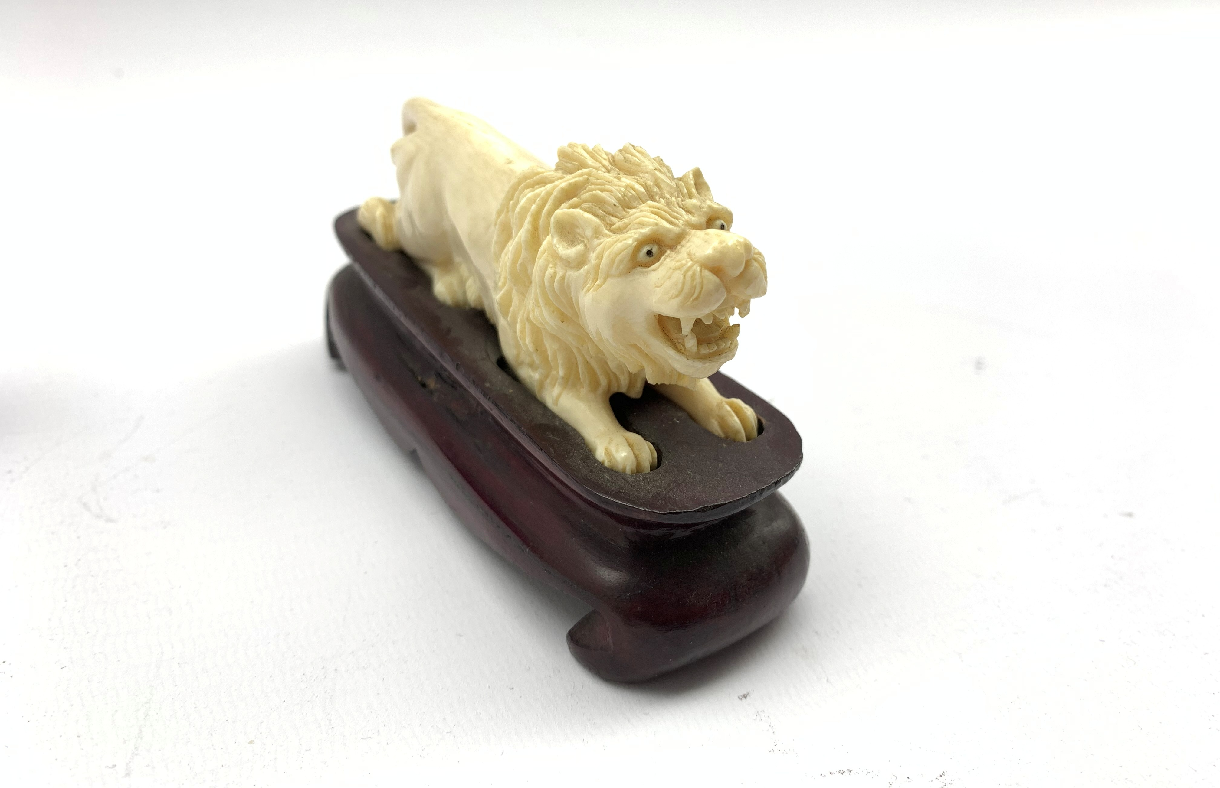 Oriental amethyst glass rabbit on a wooden stand W9cm and an early 20th century carved ivory figure - Image 9 of 11