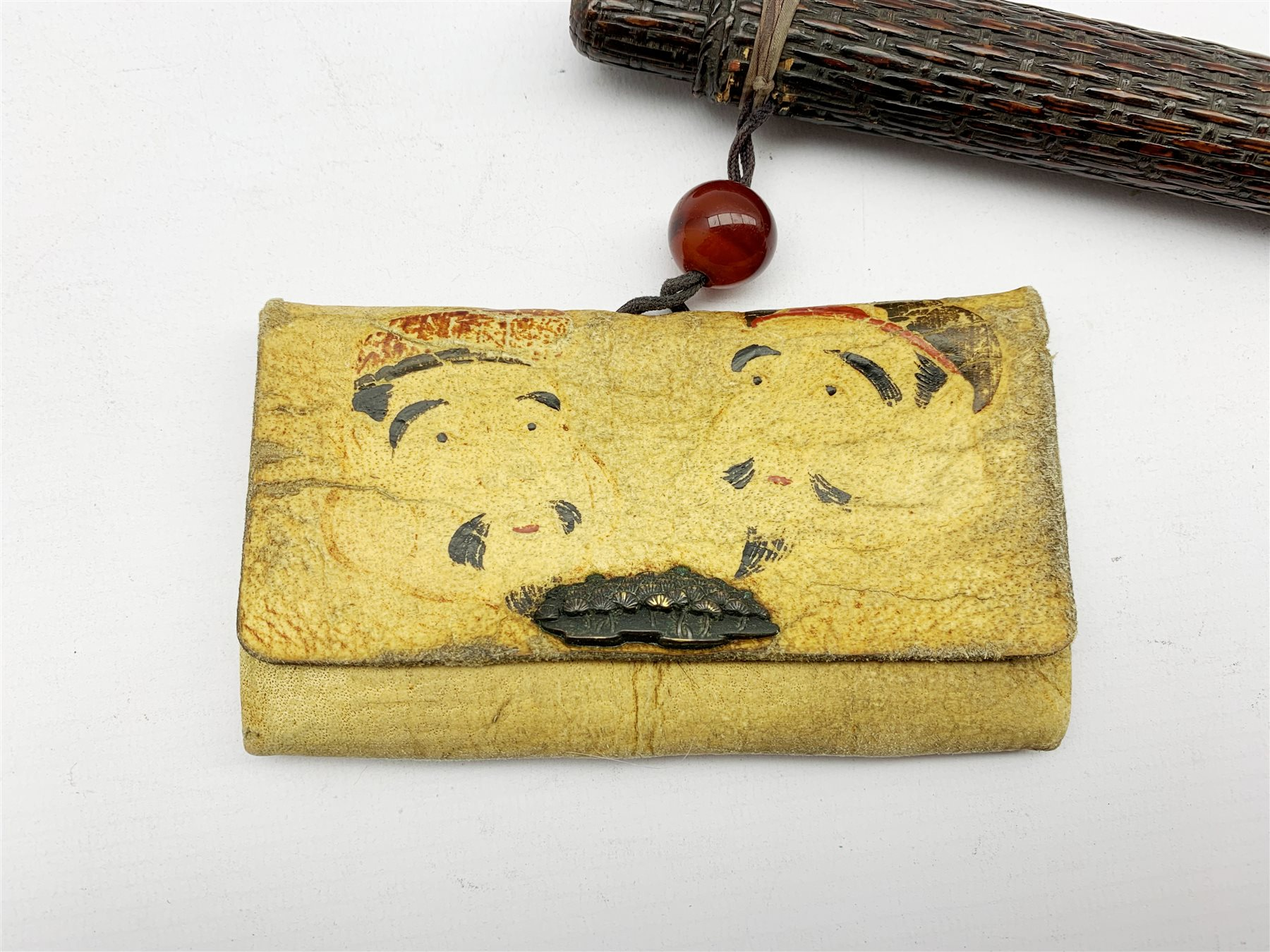 19th century Japanese embroidered tobacco pouch (tabako-ire) with bronze floral moulded mae-kanagu - Image 2 of 5