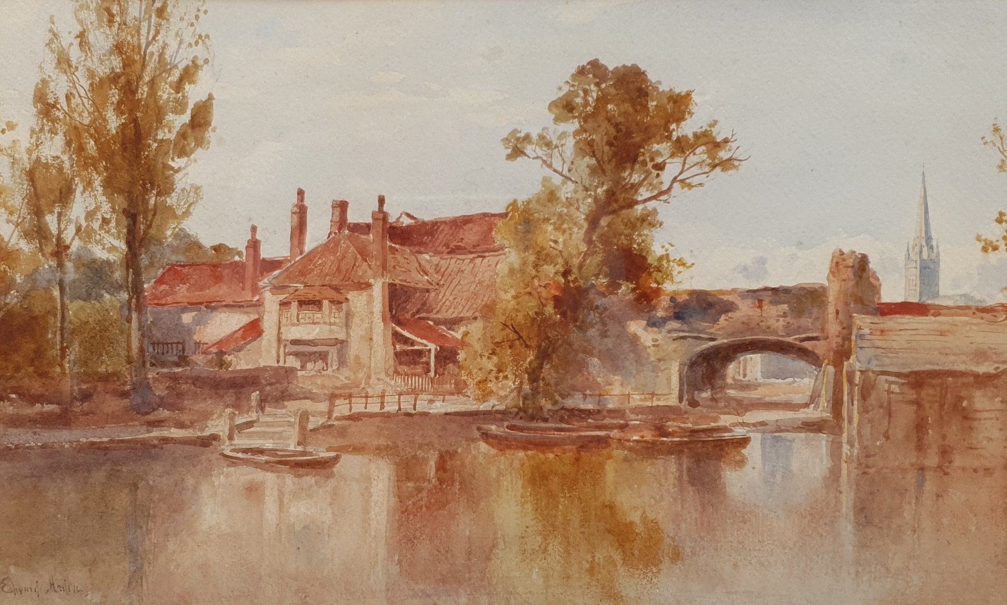 Edward Arden Tucker (British 1847-1910): 'Norwich', watercolour signed 26cm x 42cm; together with a