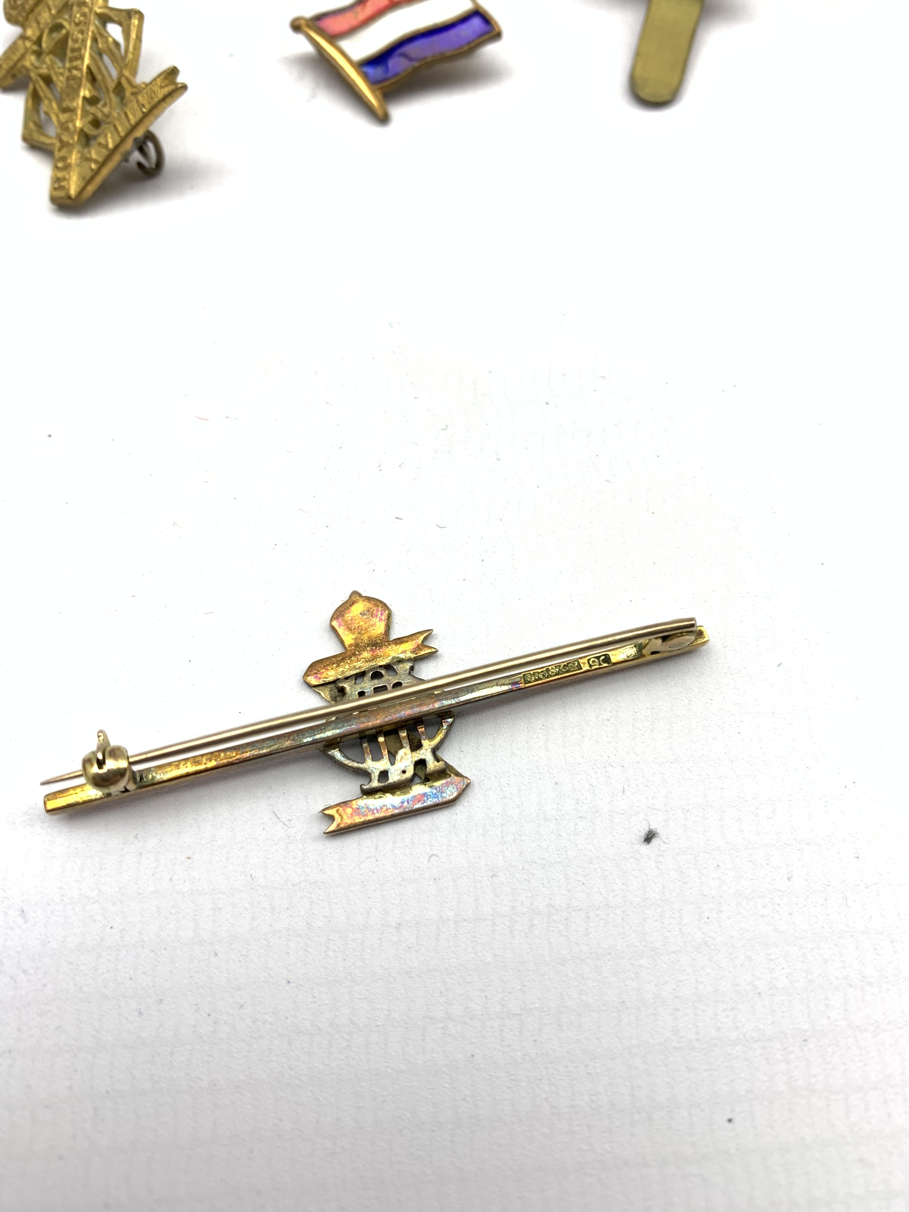 9ct gold and blue enamel brooch for XIII-XVIII Royal Hussars , four other Hussars brooches and clips - Image 10 of 15