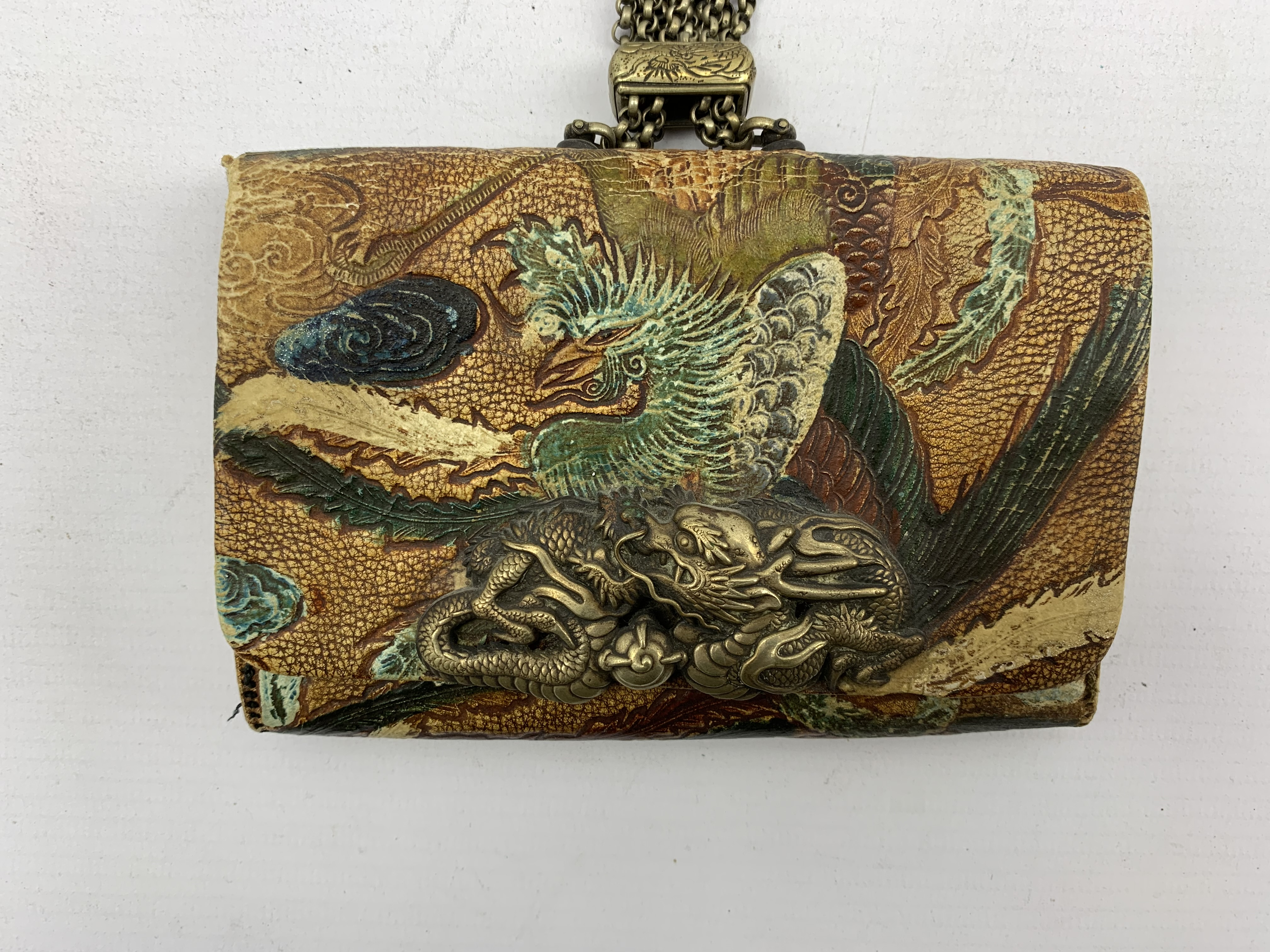 Japanese Meiji tooled leather tobacco pouch (tabako-ire) with metal mae-kanagu in the form of a Drag - Image 4 of 5