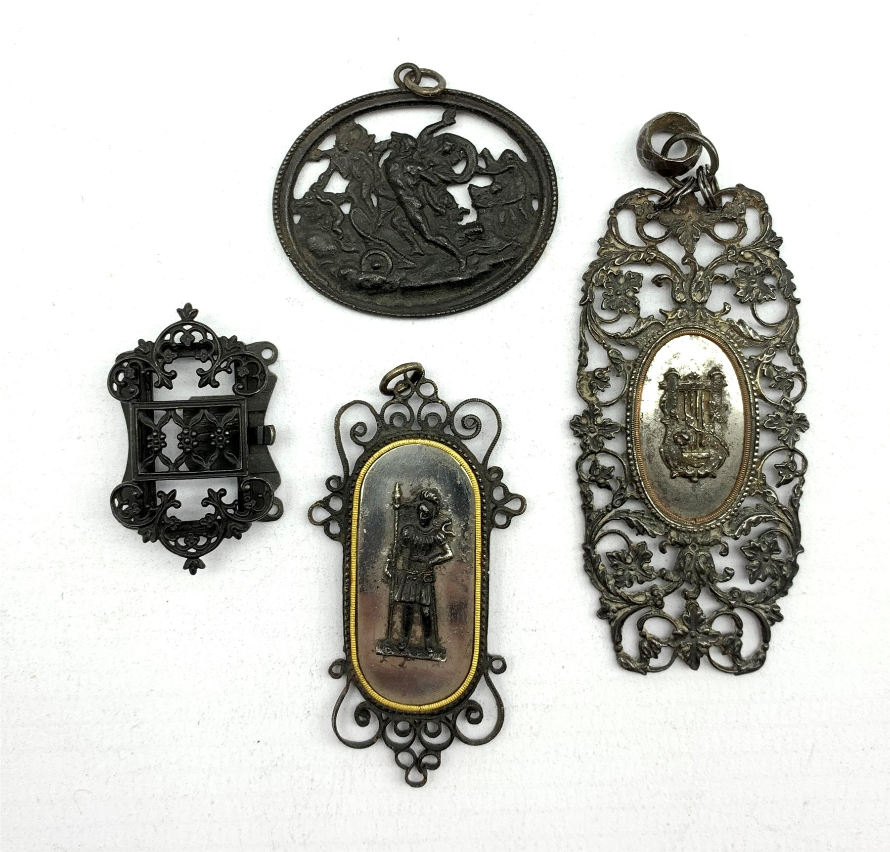 Simeon Pierre Devaranne (1789-1859) Berlin ironwork clasp inscribed 'Devaranne' and three other piec
