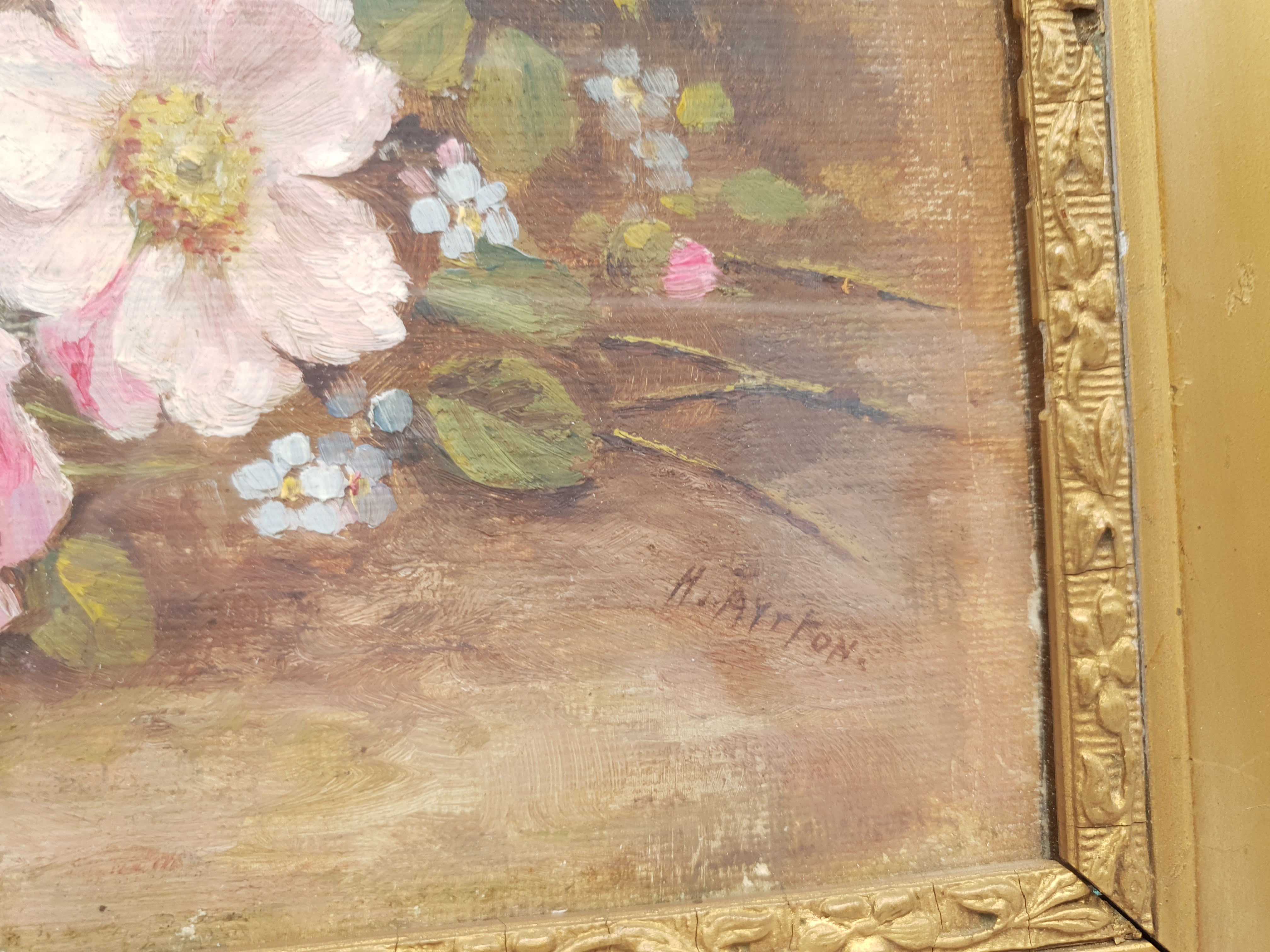 Harry Ayrton (British 1905-1976): Study of Flowers, oil on board signed 18cm x 28cm Notes: Ayrton - Image 3 of 4